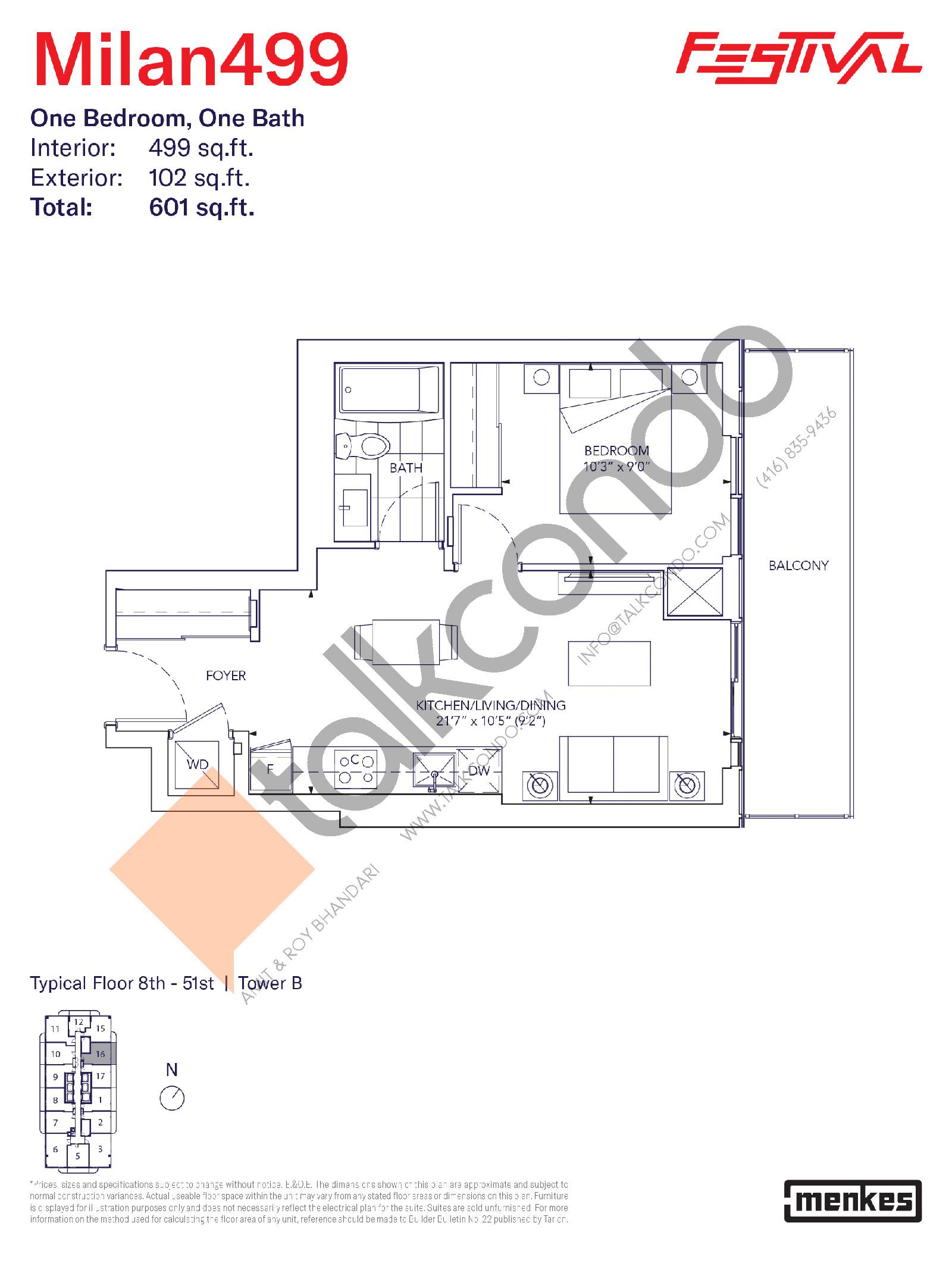 Milan 499 Floor Plan at Festival Condos South Tower - 499 sq.ft
