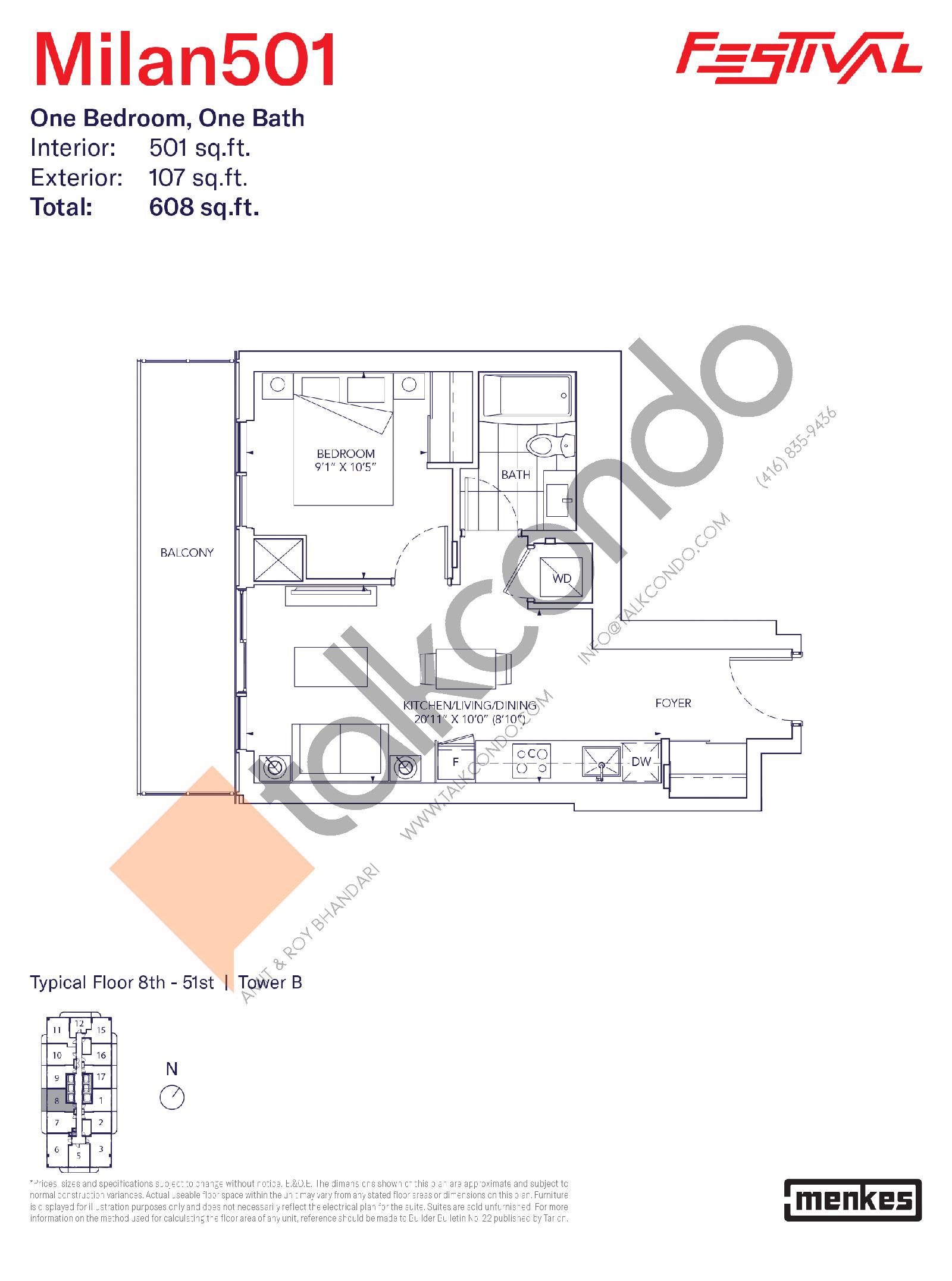 Milan 501 Floor Plan at Festival Condos South Tower - 501 sq.ft