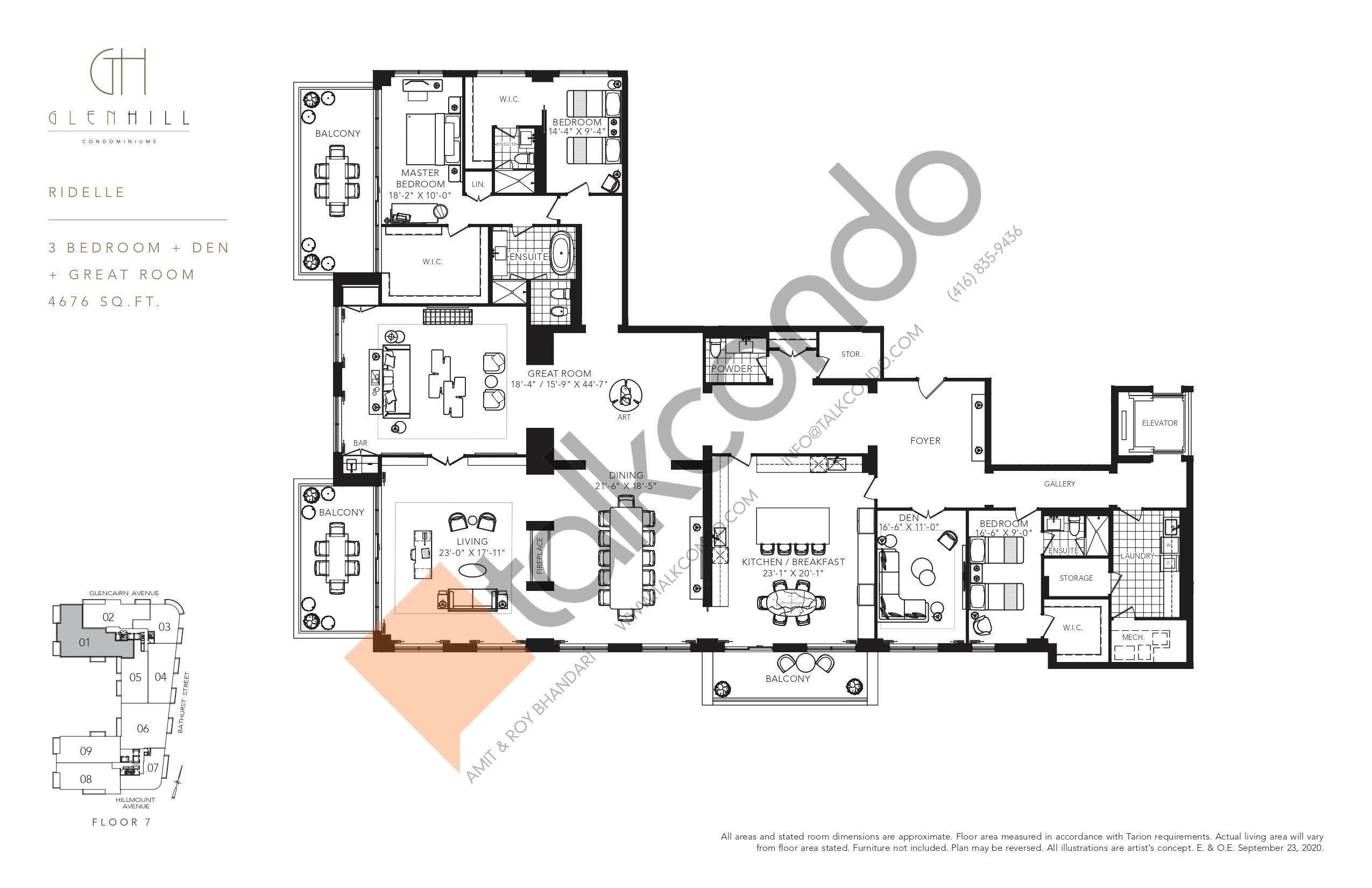 Ridelle Floor Plan at Glen Hill Condos - 4676 sq.ft