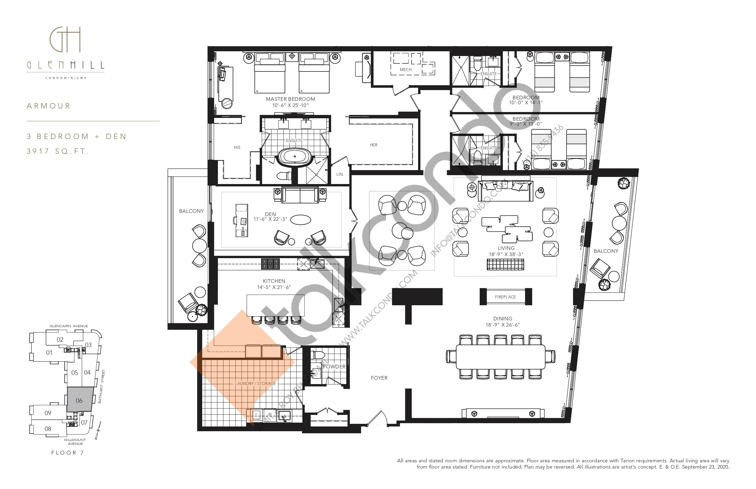Armour Floor Plan at Glen Hill Condos - 3917 sq.ft
