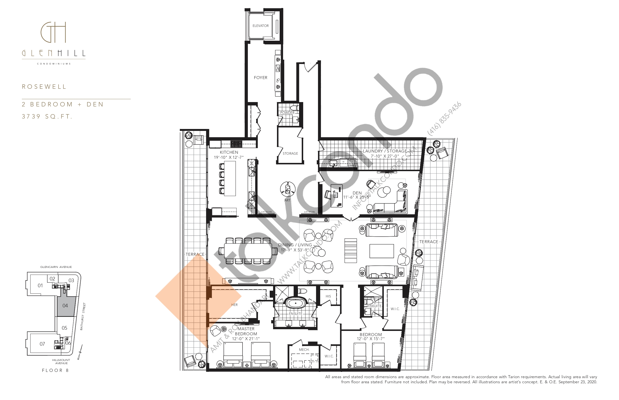 Rosewell Floor Plan at Glen Hill Condos - 3739 sq.ft