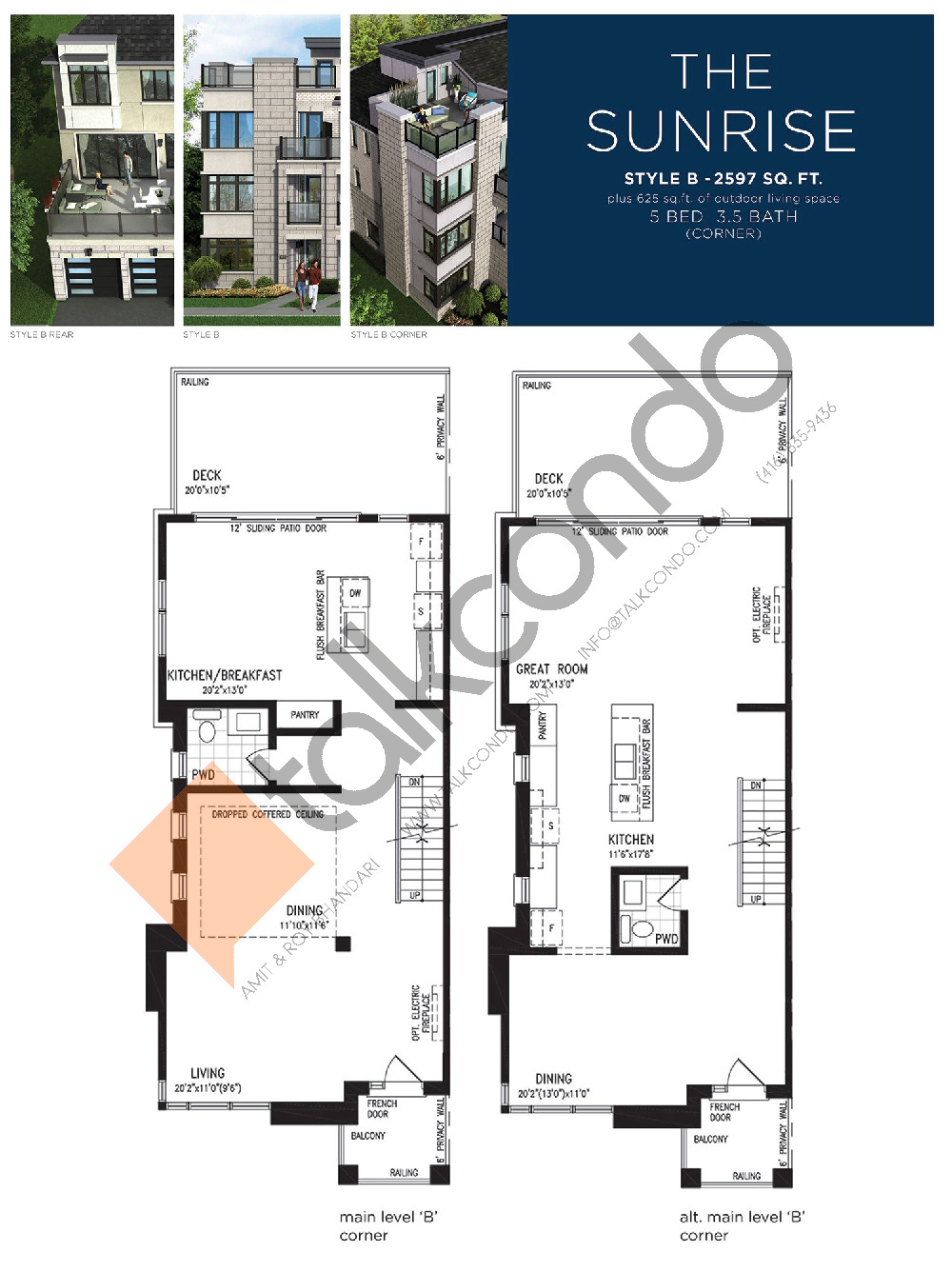 The Sunrise (2/3) Floor Plan at Lake Breeze - 2597 sq.ft