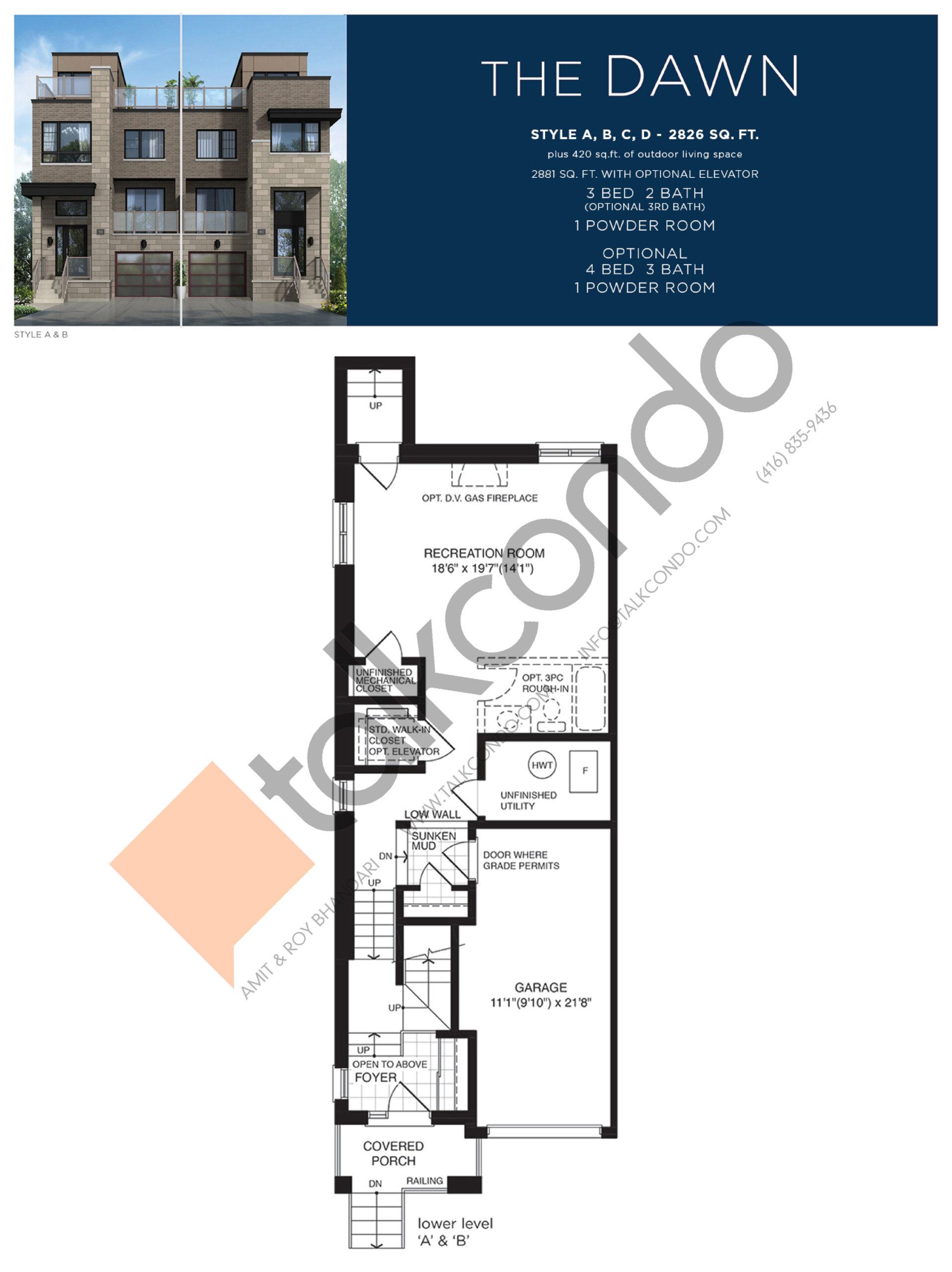 The Dawn (1/3) Floor Plan at Lake Breeze - 2826 sq.ft