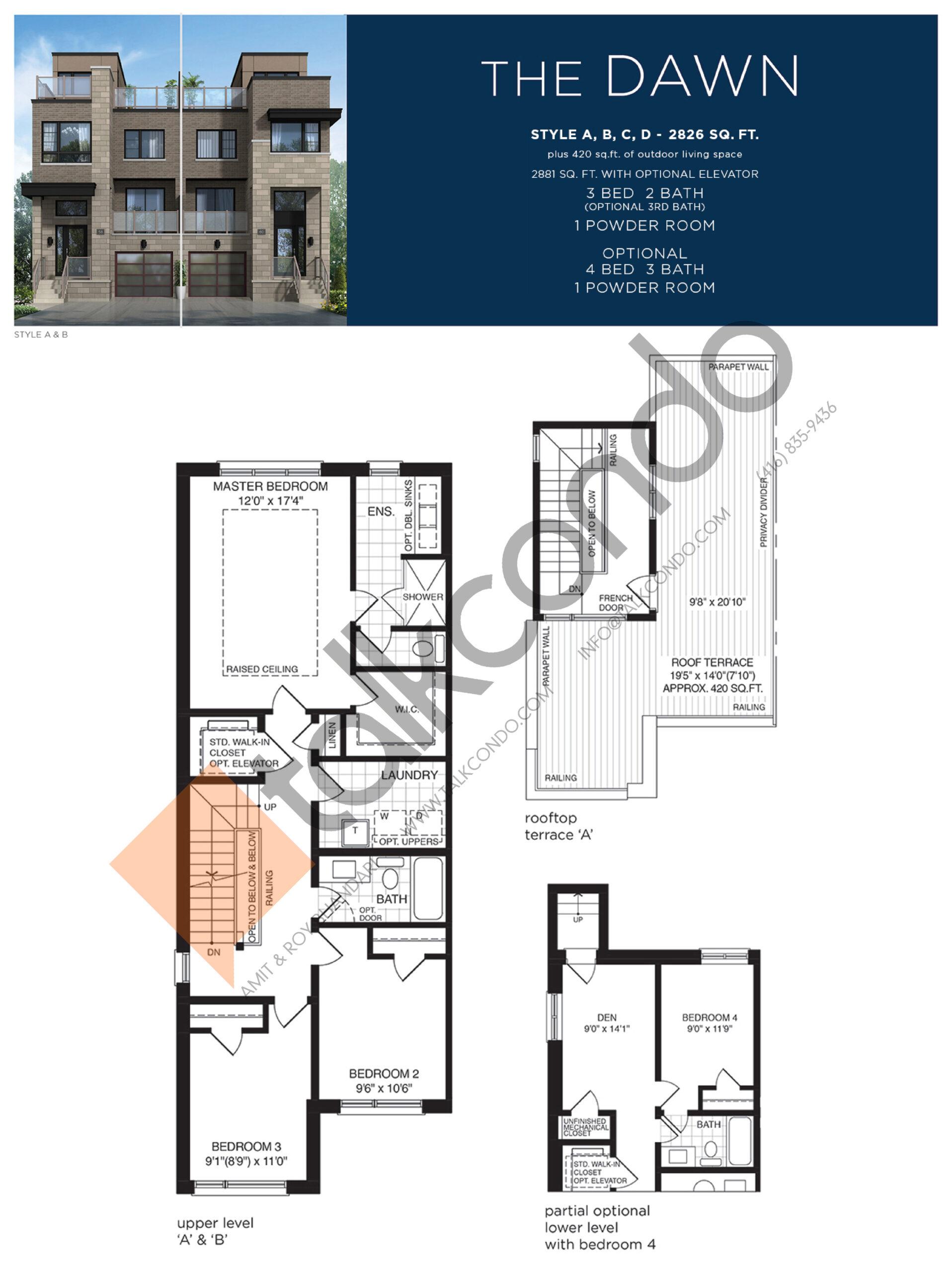 The Dawn (3/3) Floor Plan at Lake Breeze - 2826 sq.ft