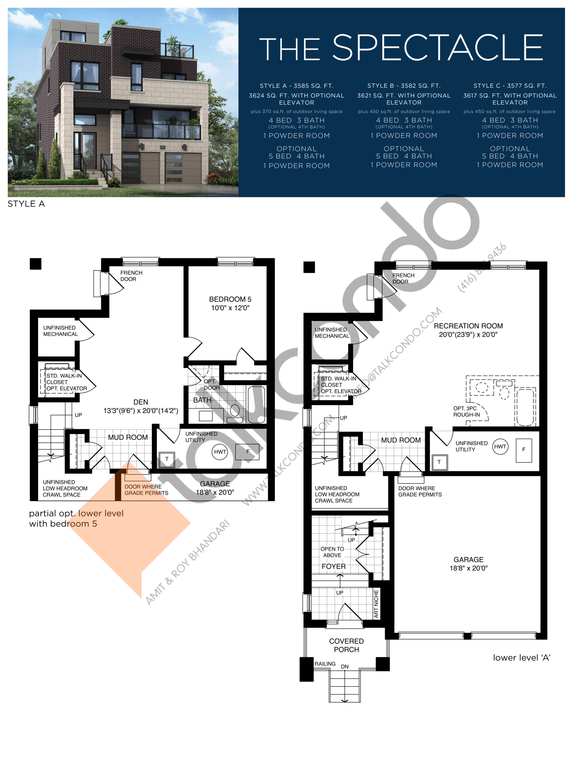 The Spectacle (1/3) Floor Plan at Lake Breeze - 3585 sq.ft