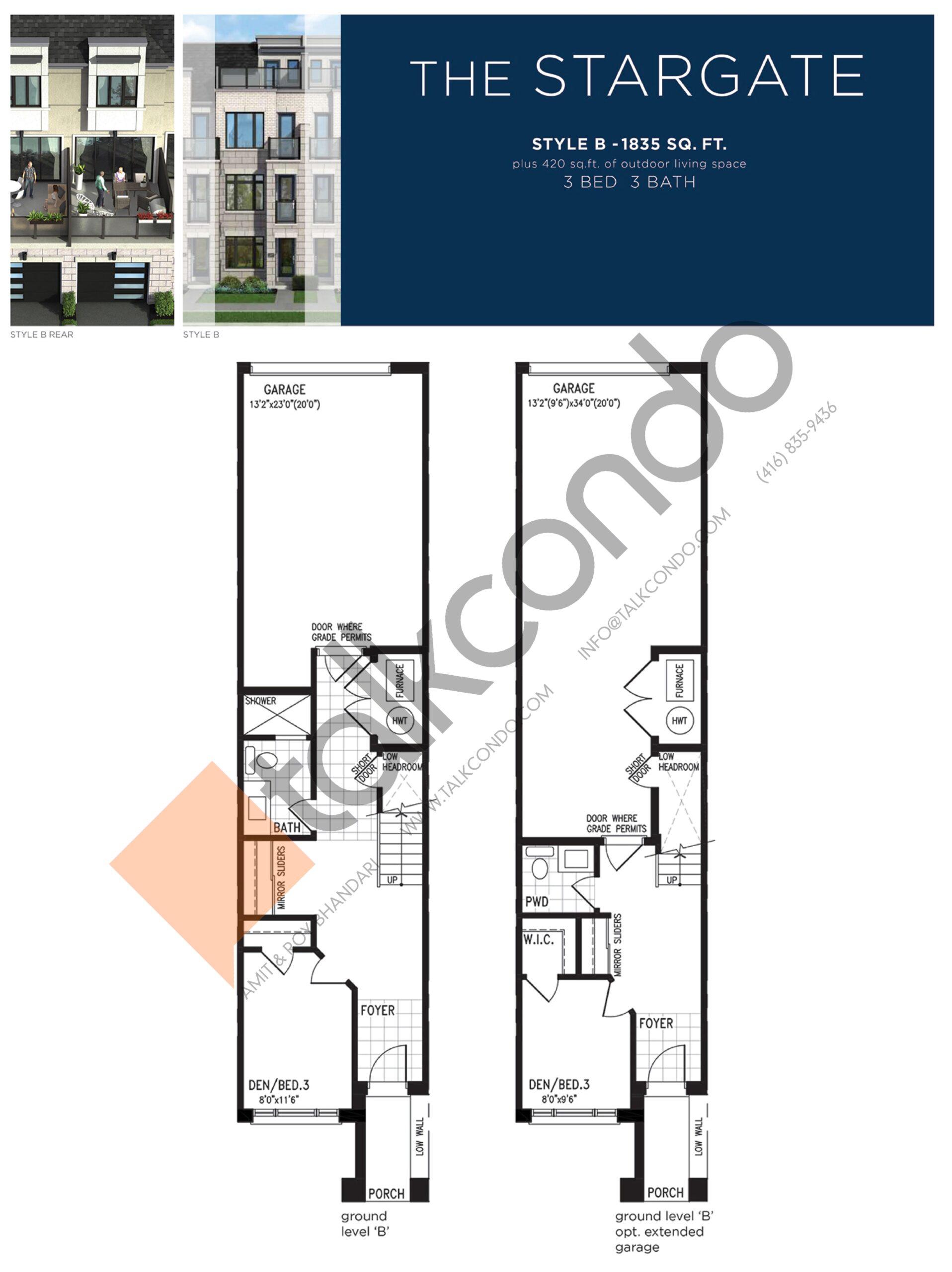 The Stargate (1/3) Floor Plan at Lake Breeze - 1835 sq.ft