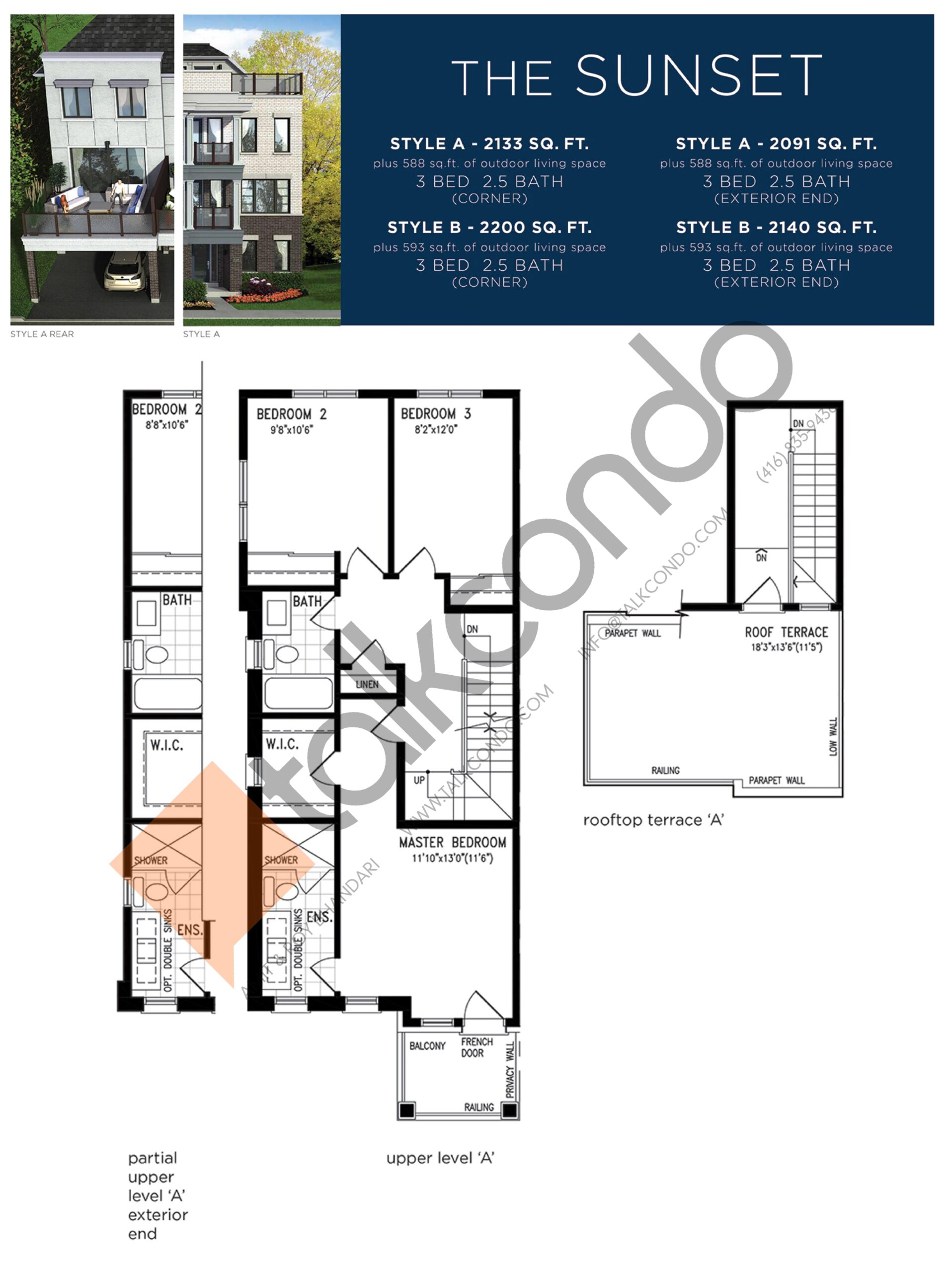 The Sunset (3/3) Floor Plan at Lake Breeze - 2200 sq.ft