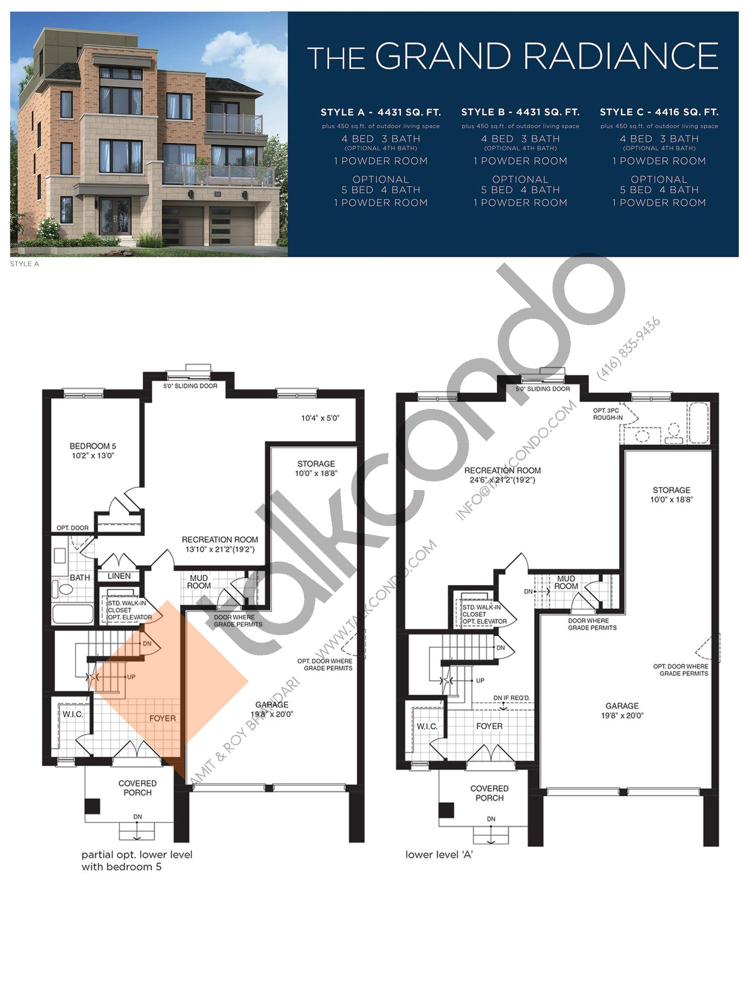 The Grand Radiance (1/3) Floor Plan at Lake Breeze - 4431 sq.ft