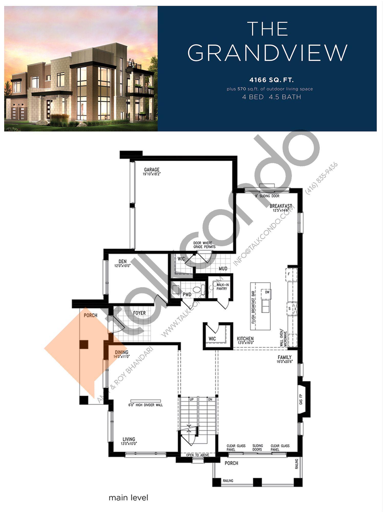 The Grandview (2/3) Floor Plan at Lake Breeze - 4166 sq.ft