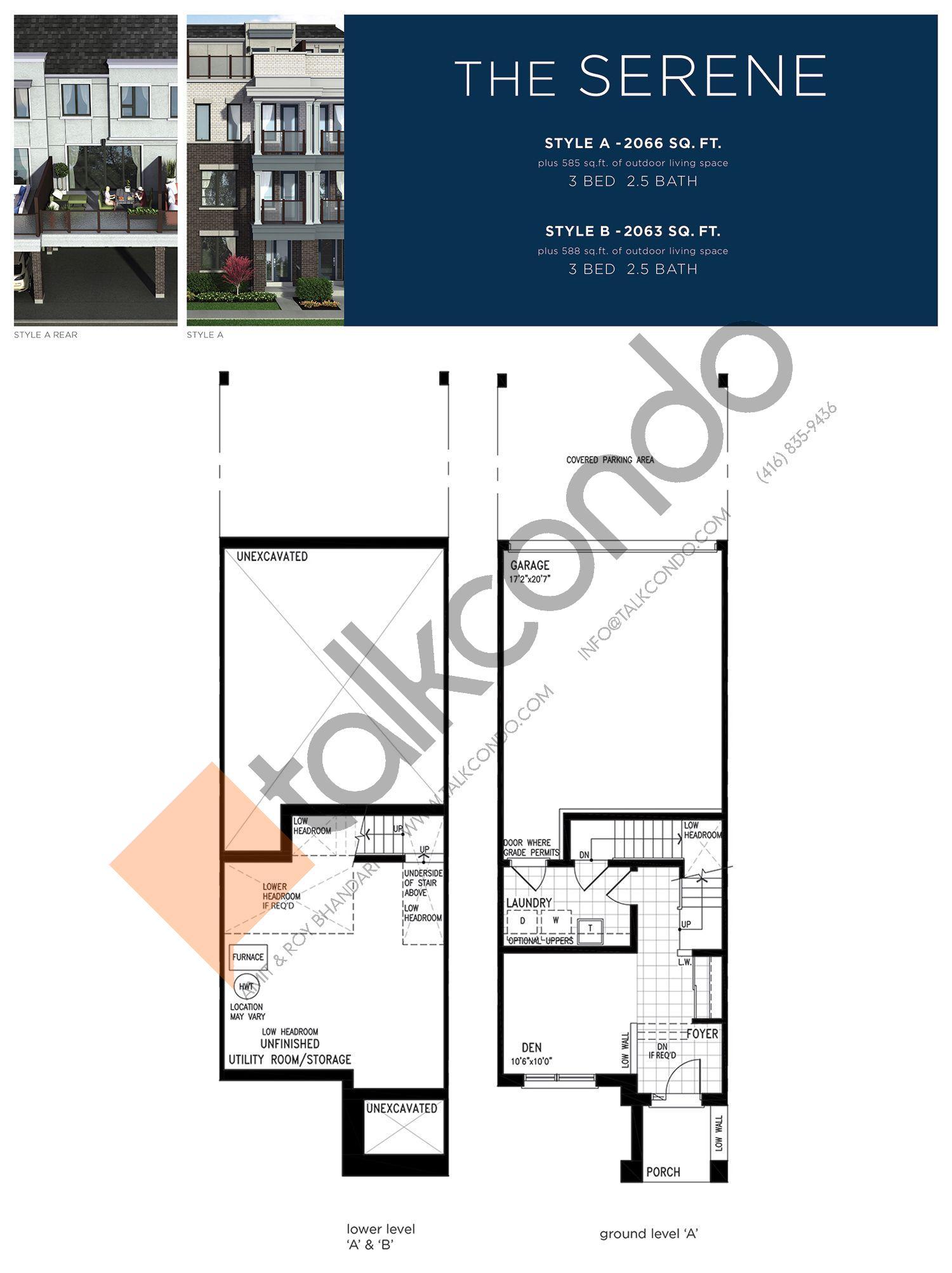 The Serene (1/3) Floor Plan at Lake Breeze - 2066 sq.ft