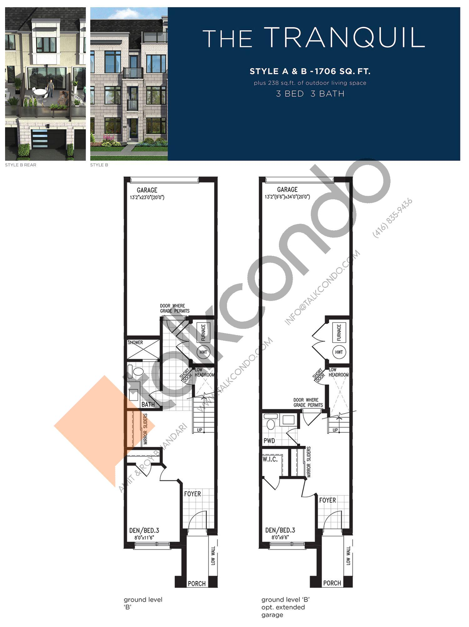 The Tranquil (1/3) Floor Plan at Lake Breeze - 1706 sq.ft