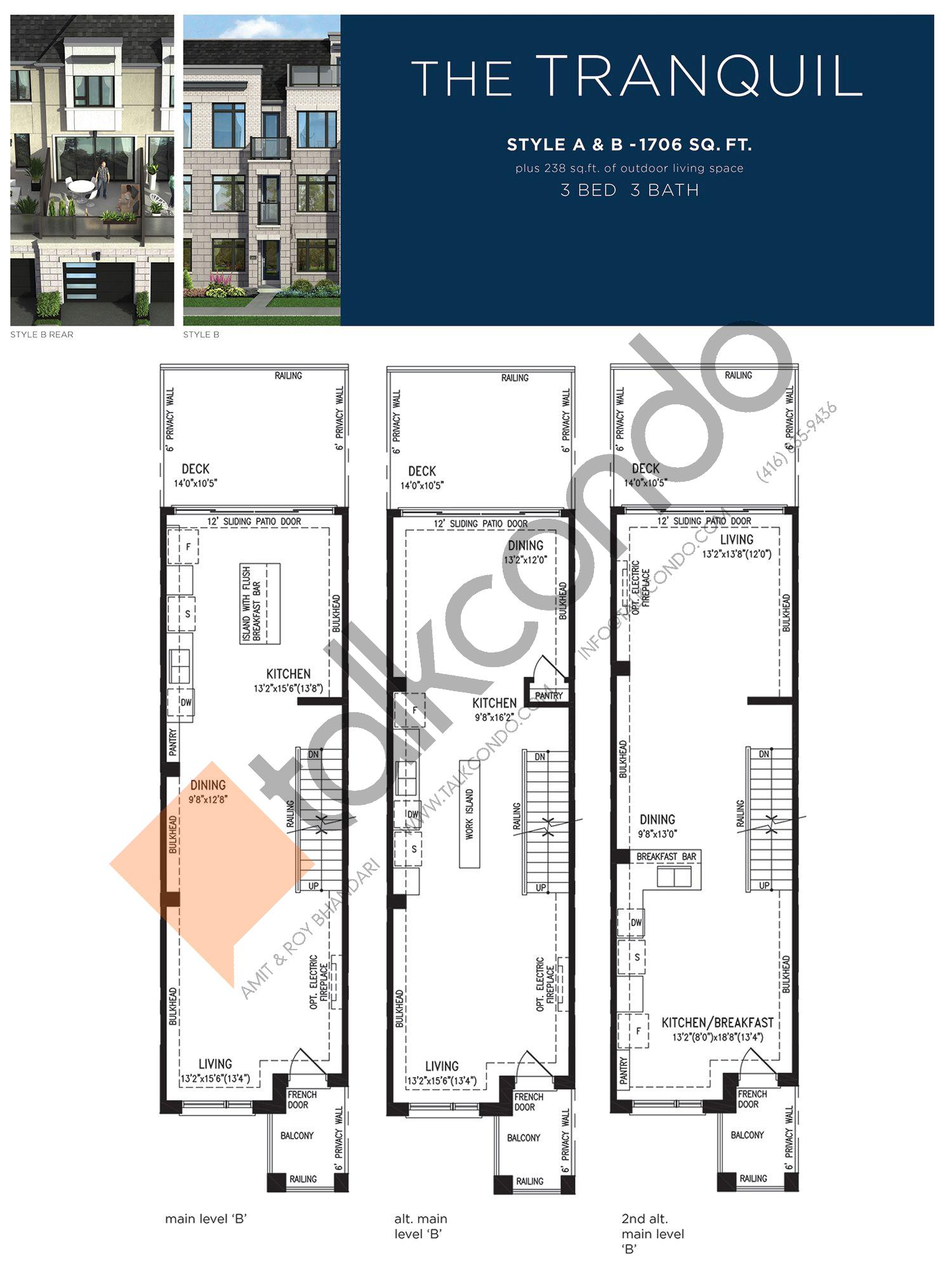 The Tranquil (2/3) Floor Plan at Lake Breeze - 1706 sq.ft