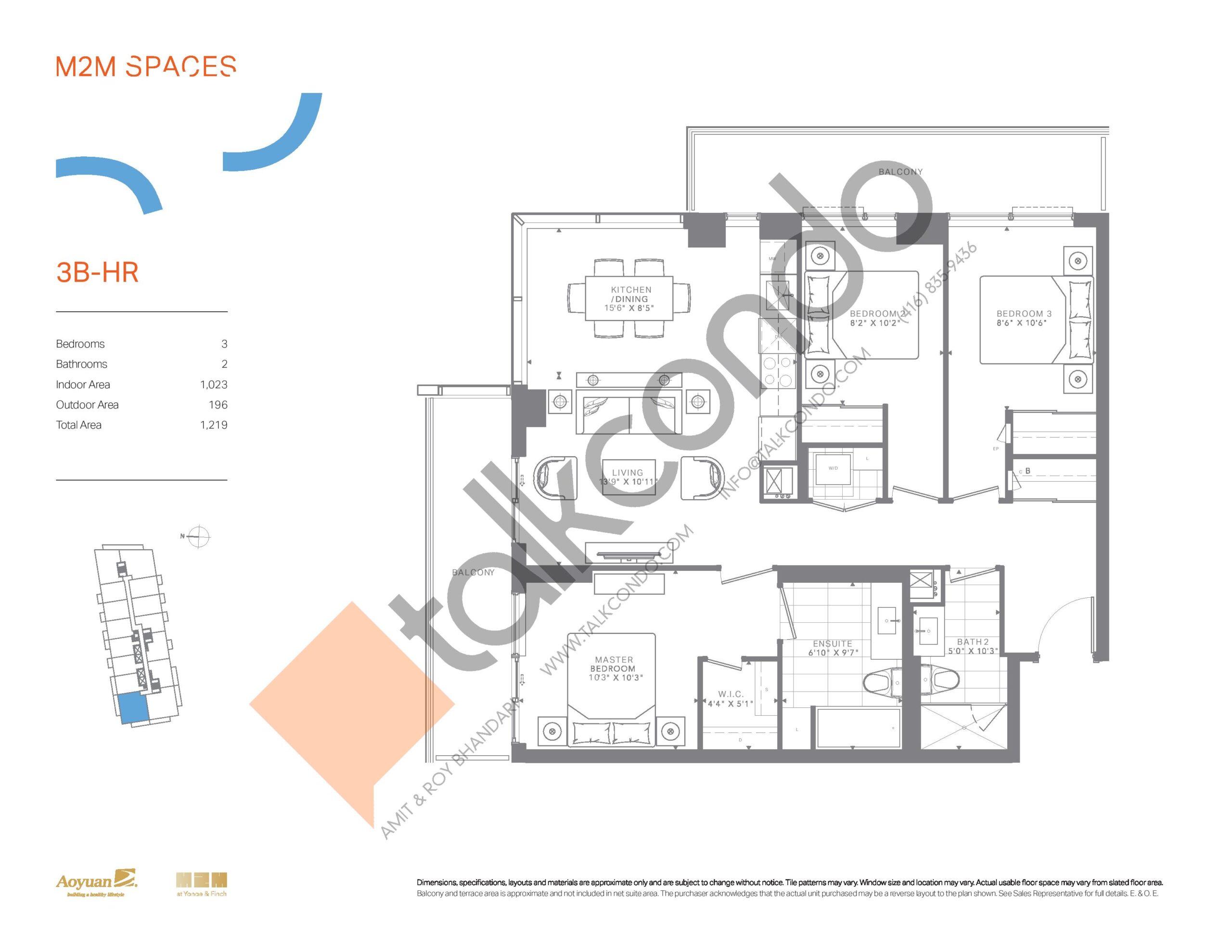 3B-HR Floor Plan at M2M Spaces Condos - 1023 sq.ft