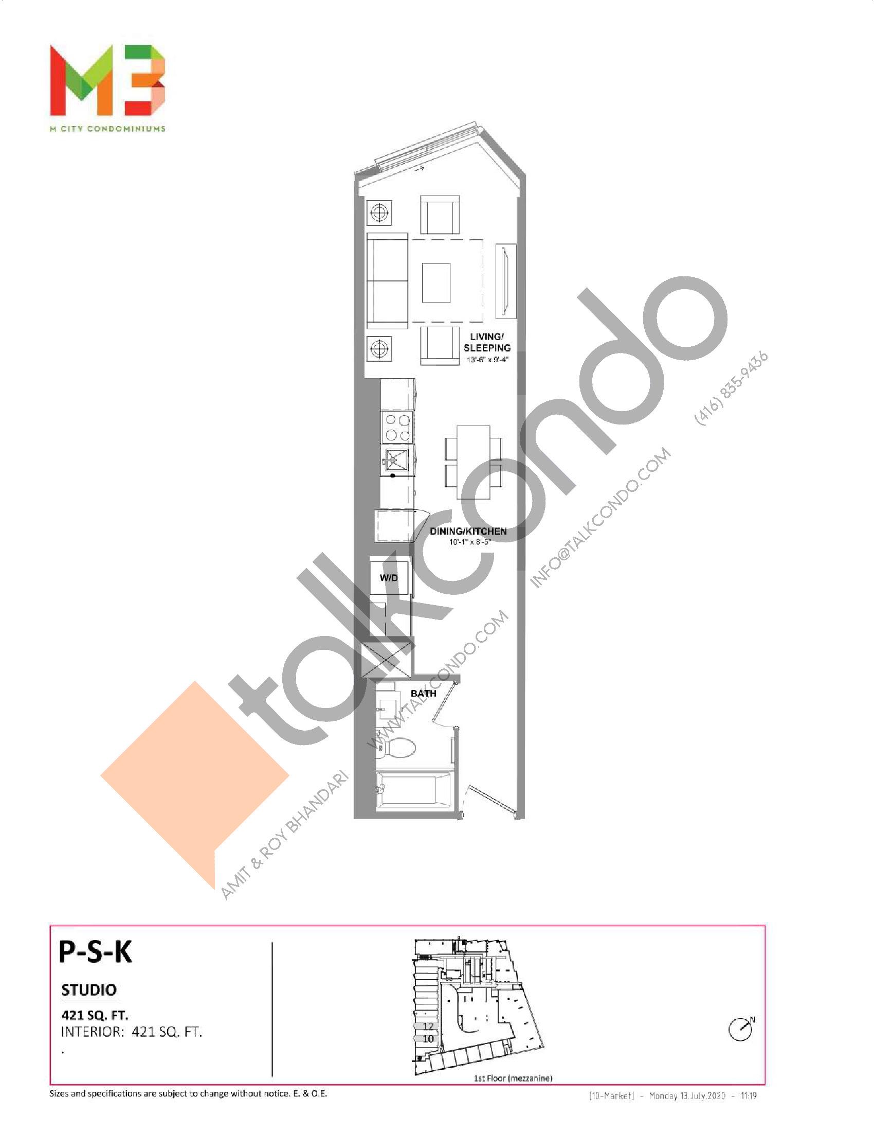 P-S-K Floor Plan at M3 Condos - 421 sq.ft