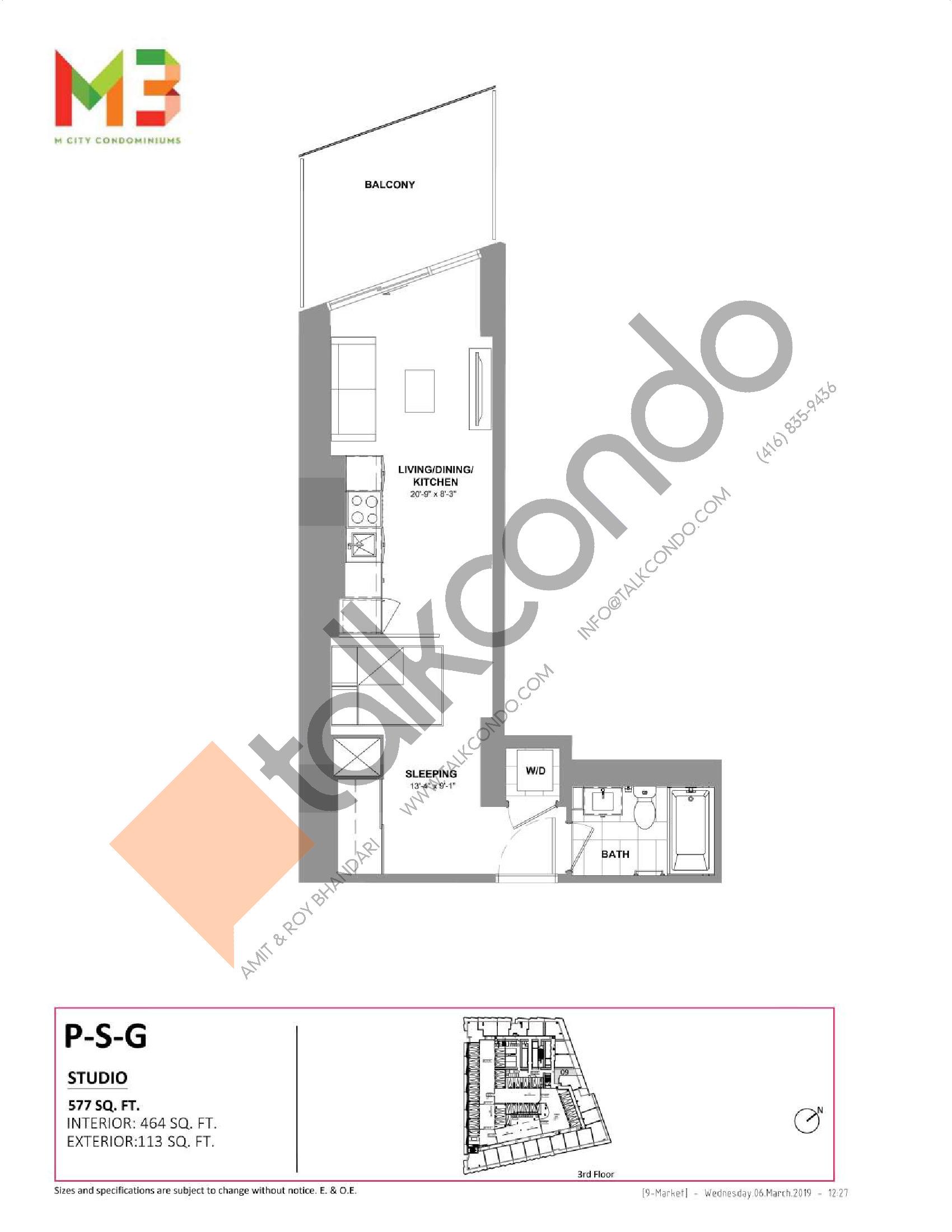 P-S-G Floor Plan at M3 Condos - 464 sq.ft