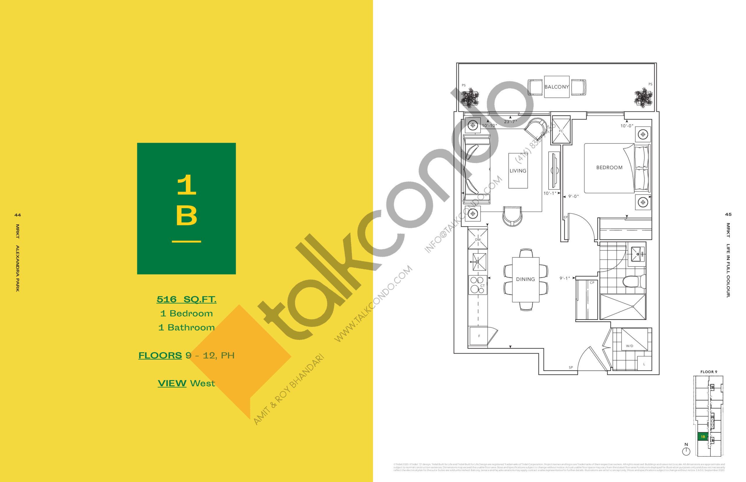1B Floor Plan at MRKT Alexandra Park Condos - 516 sq.ft