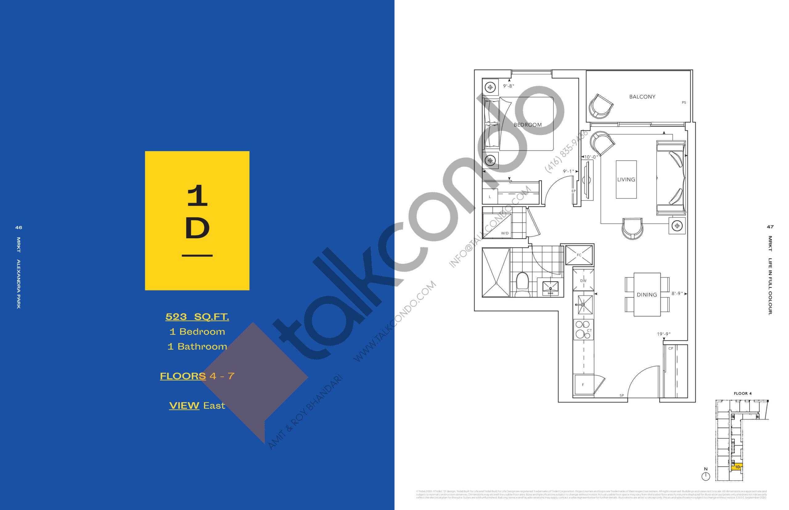 1D Floor Plan at MRKT Alexandra Park Condos - 523 sq.ft