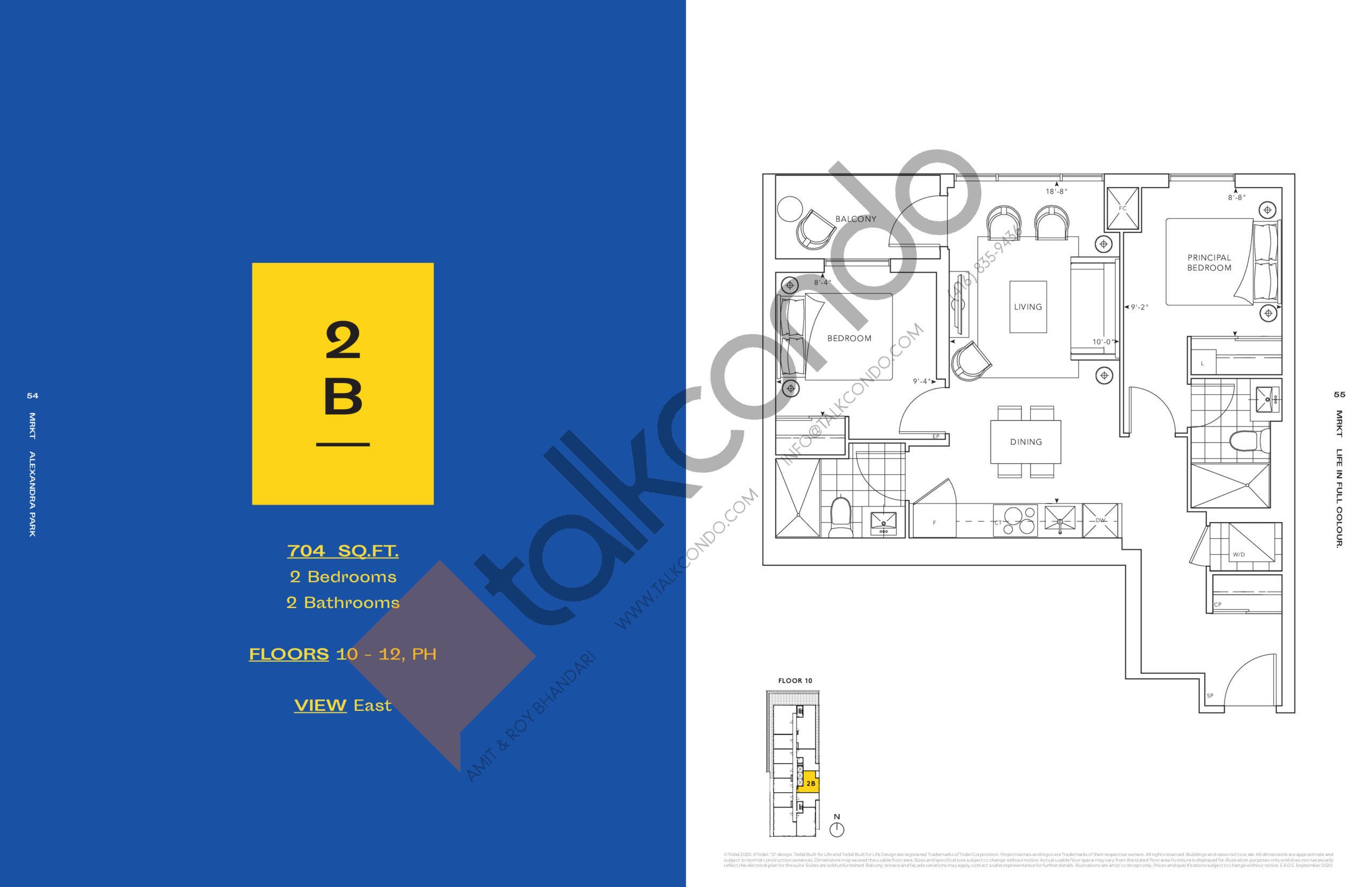 2B Floor Plan at MRKT Alexandra Park Condos - 704 sq.ft