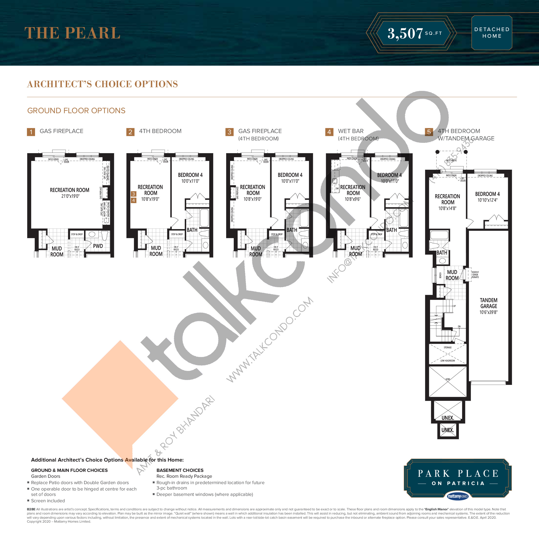 The Pearl (1/2) Floor Plan at Park Place on Patricia Towns - 3507 sq.ft