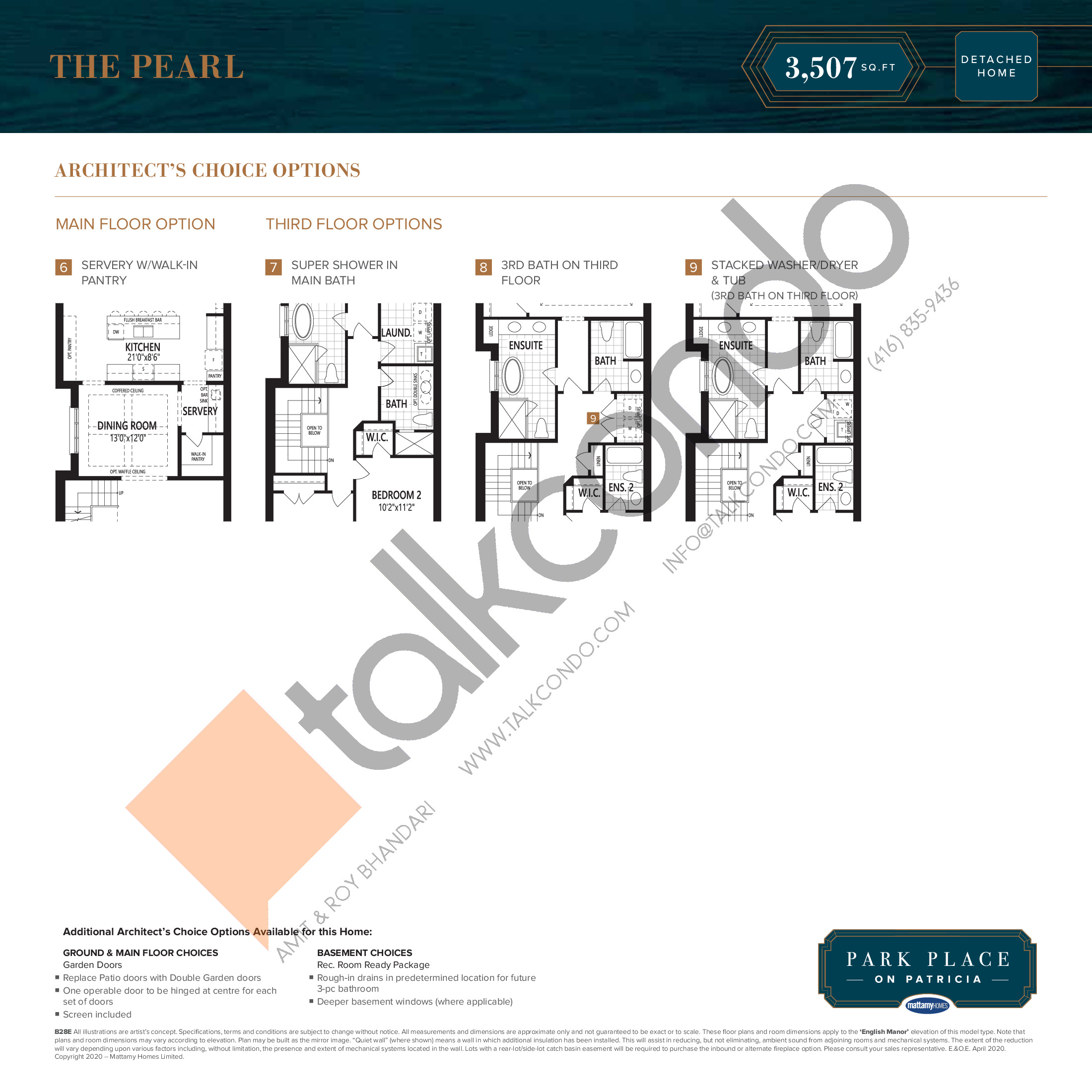 The Pearl (2/2) Floor Plan at Park Place on Patricia Towns - 3507 sq.ft