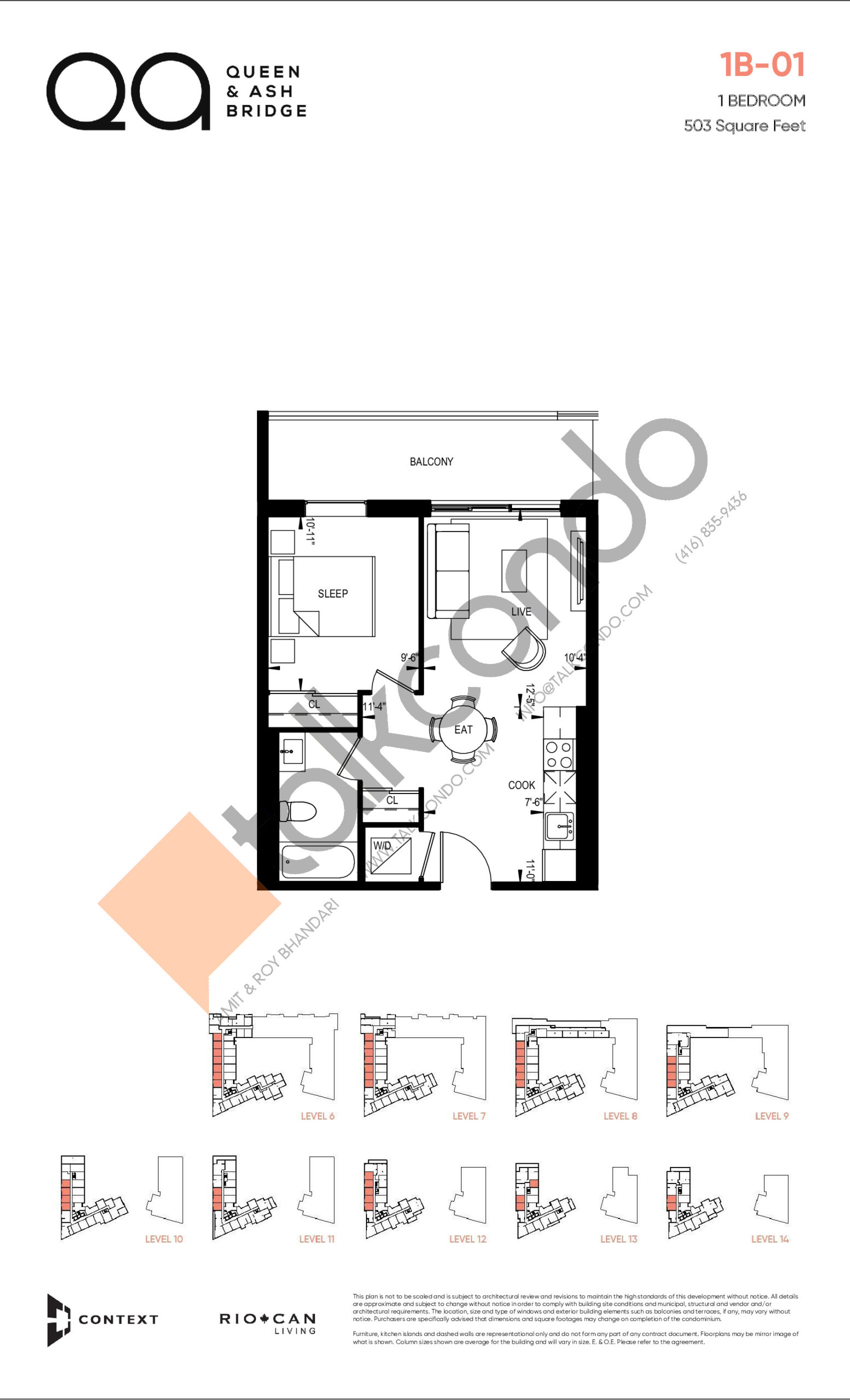 1B-01 (Queen Collection) Floor Plan at QA Condos - 503 sq.ft