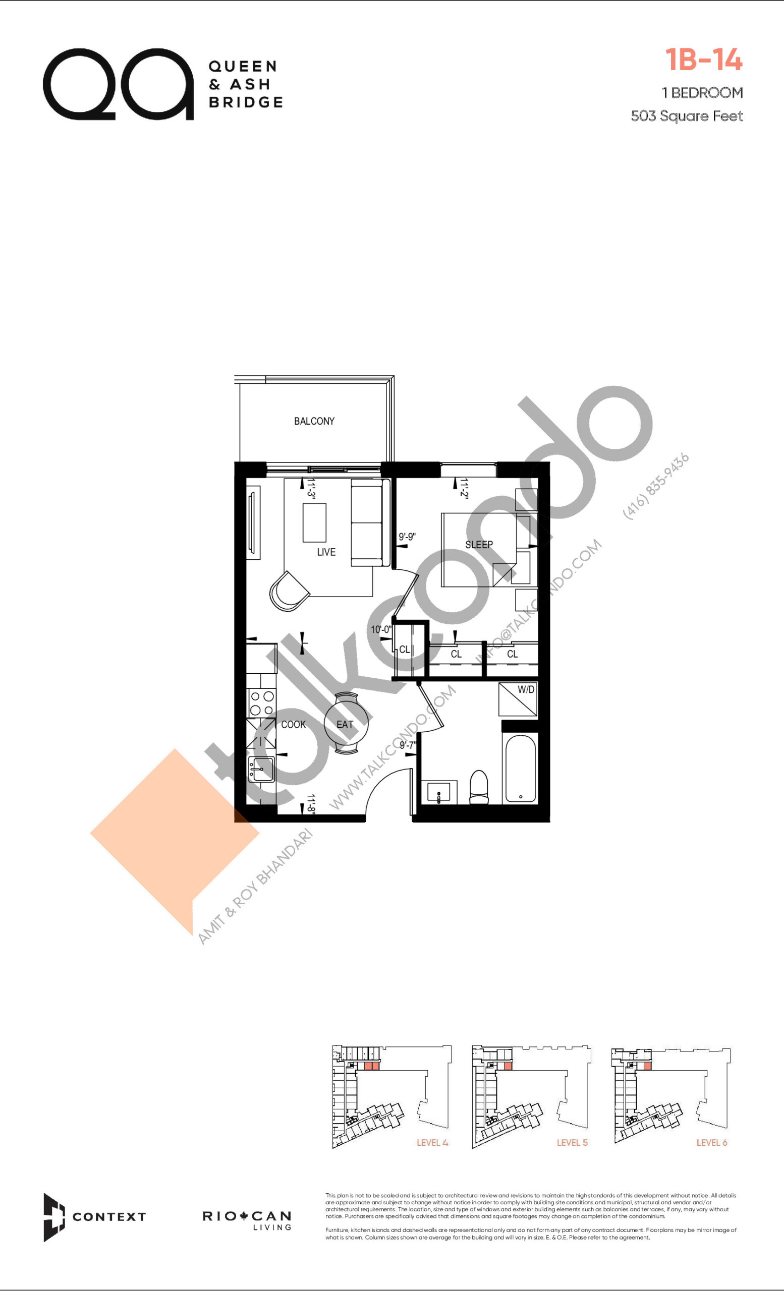 1B-14 (Queen Collection) Floor Plan at QA Condos - 503 sq.ft