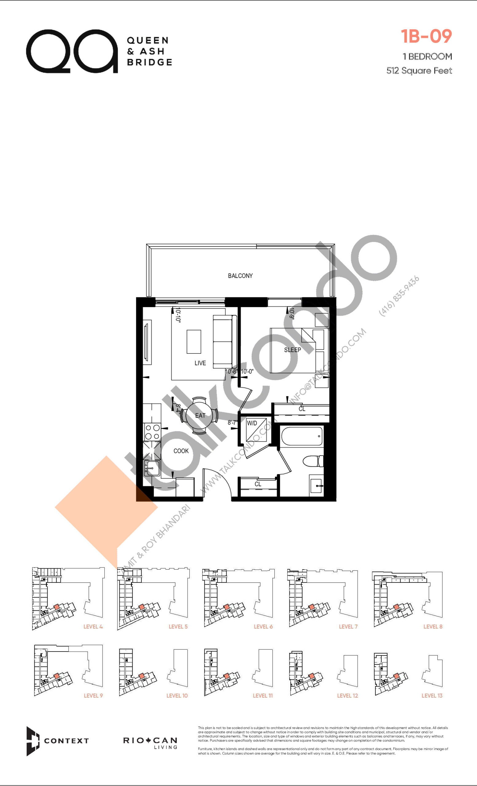 1B-09 (Queen Collection) Floor Plan at QA Condos - 512 sq.ft