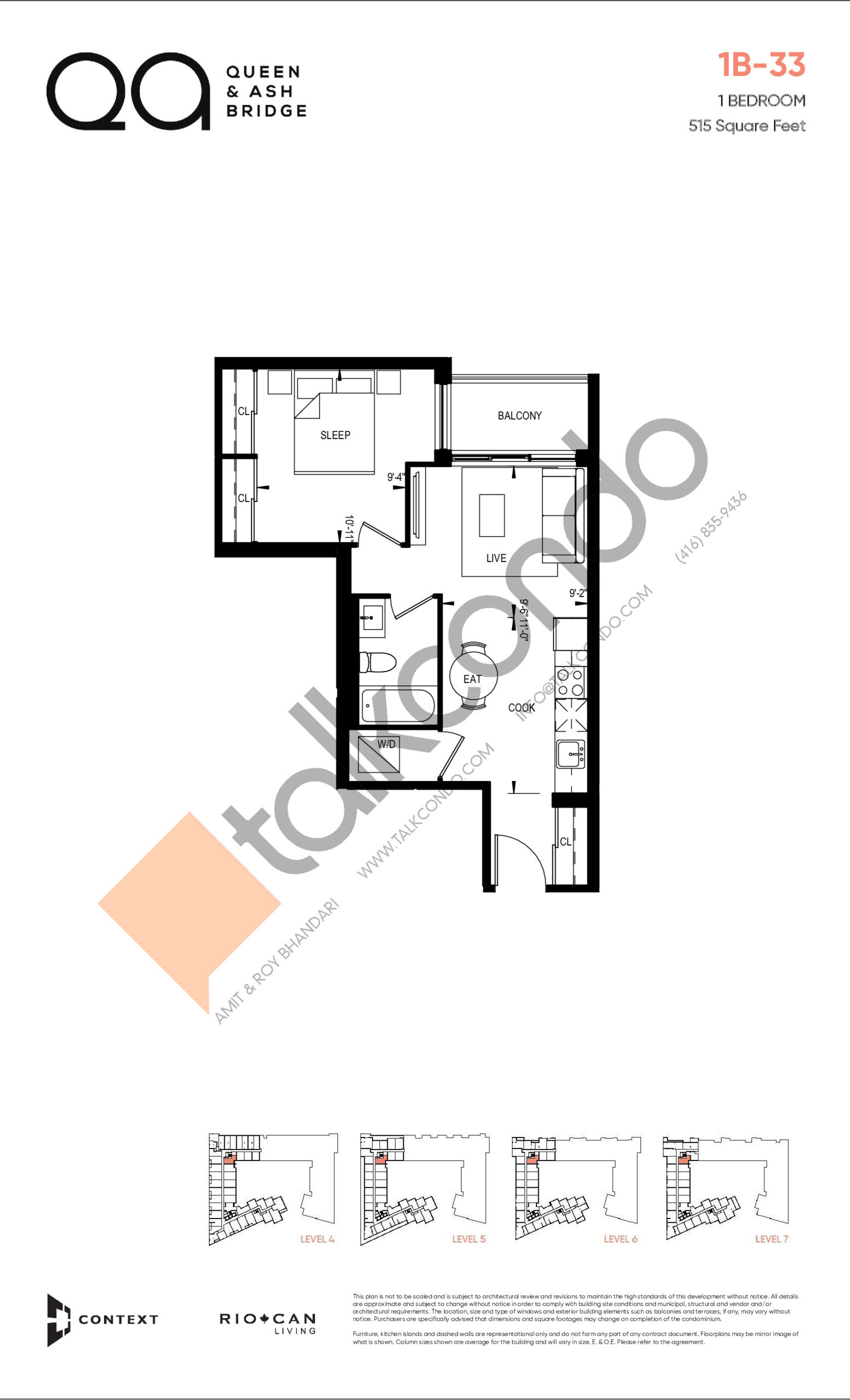 1B-33 (Queen Collection) Floor Plan at QA Condos - 515 sq.ft