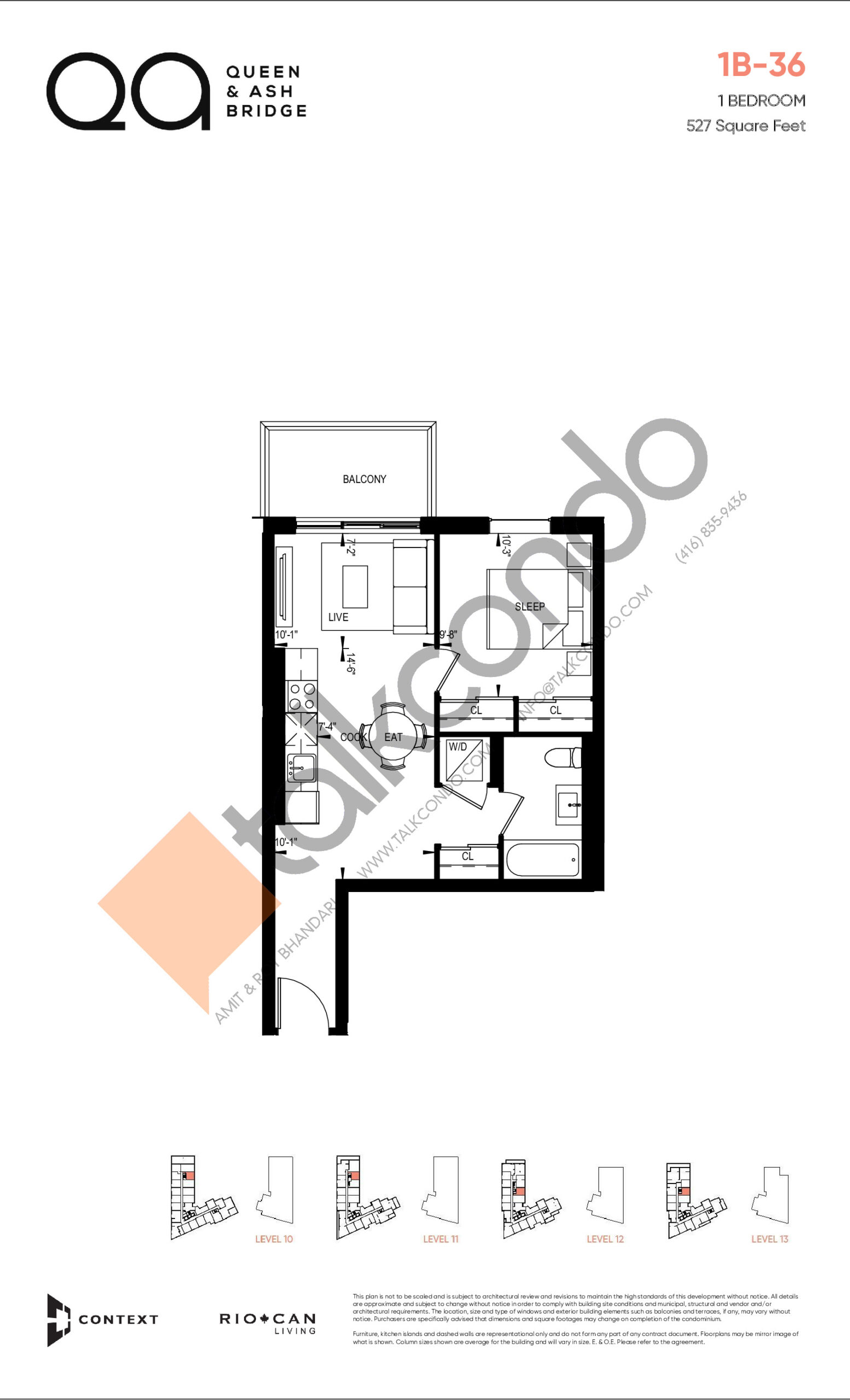1B-36 (Queen Collection) Floor Plan at QA Condos - 527 sq.ft