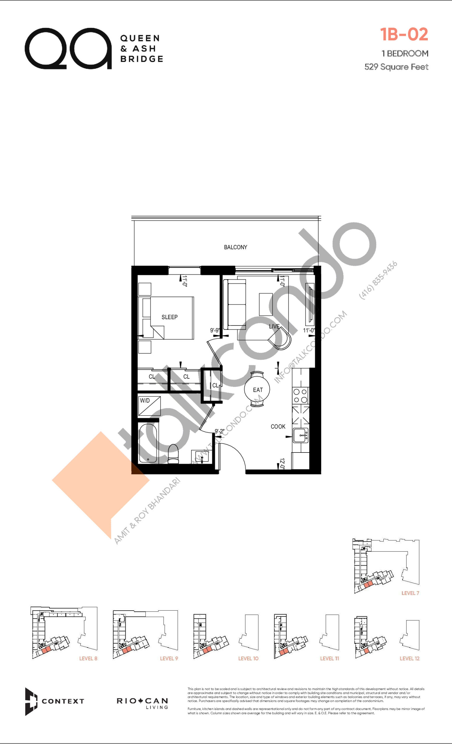 1B-02 (Queen Collection) Floor Plan at QA Condos - 529 sq.ft