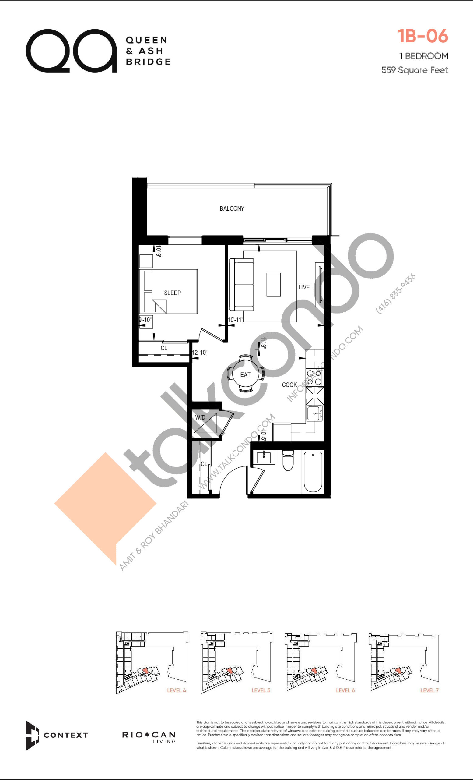 1B-06 (Queen Collection) Floor Plan at QA Condos - 559 sq.ft