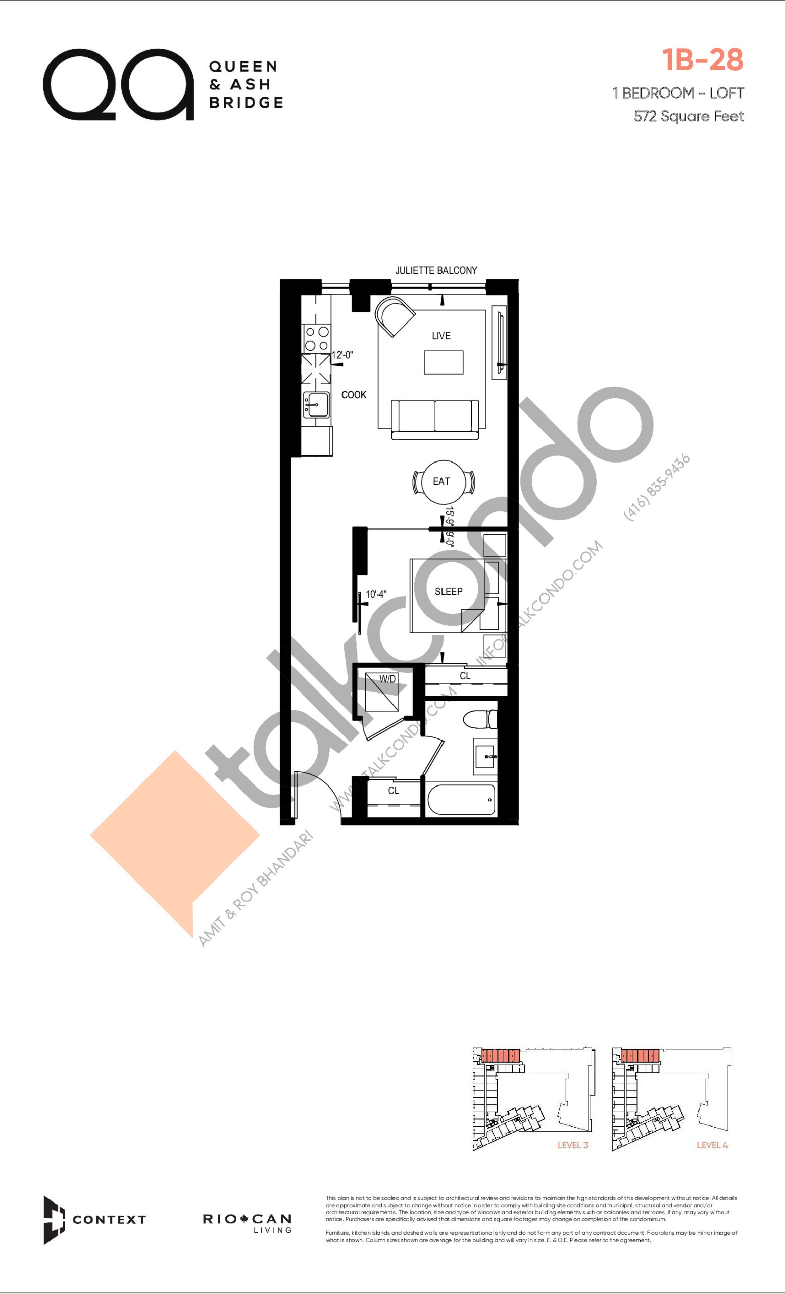 1B-28 (Queen Collection) Floor Plan at QA Condos - 572 sq.ft