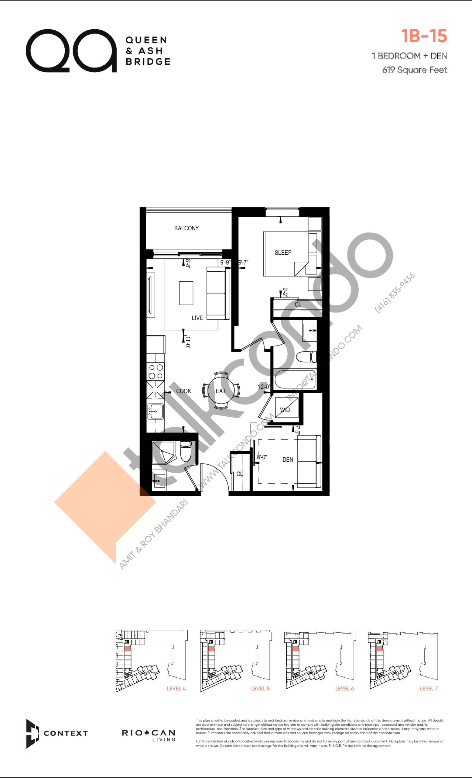 1B-15 (Queen Collection) Floor Plan at QA Condos - 619 sq.ft