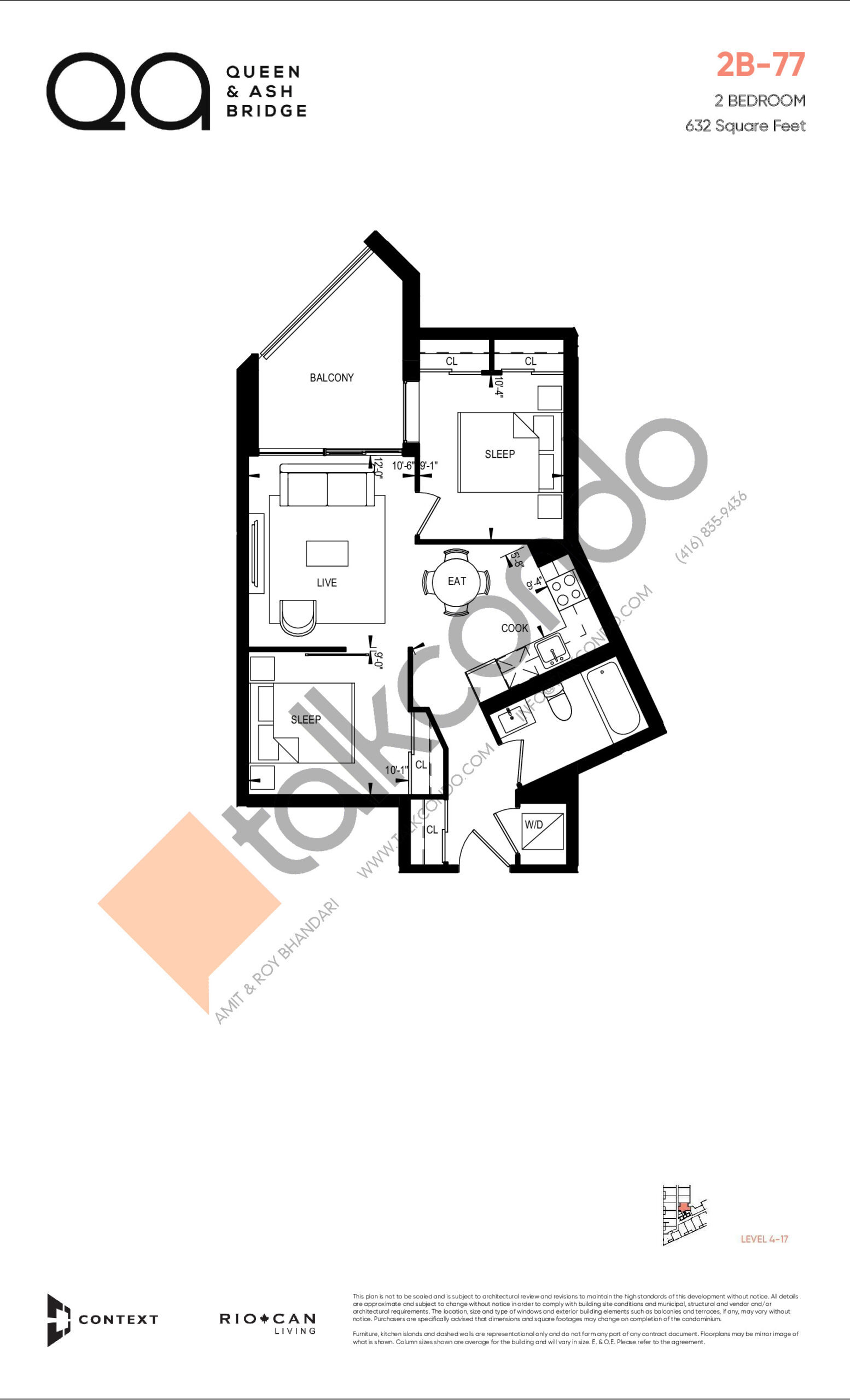 2B-77 (Queen Collection) Floor Plan at QA Condos - 632 sq.ft