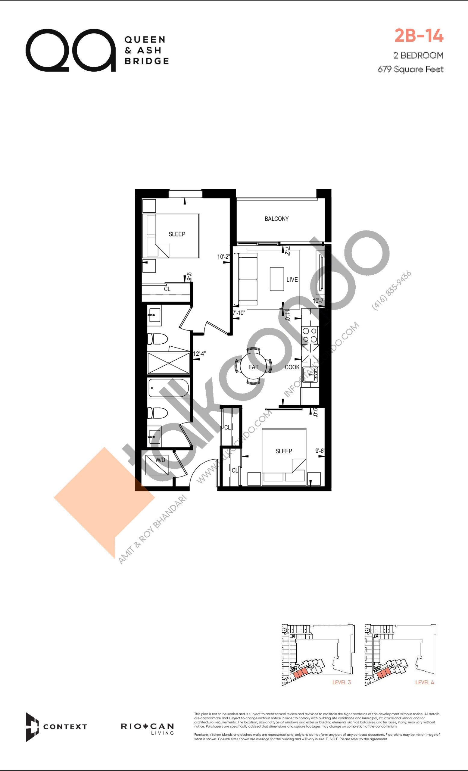 2B-14 (Queen Collection) Floor Plan at QA Condos - 679 sq.ft