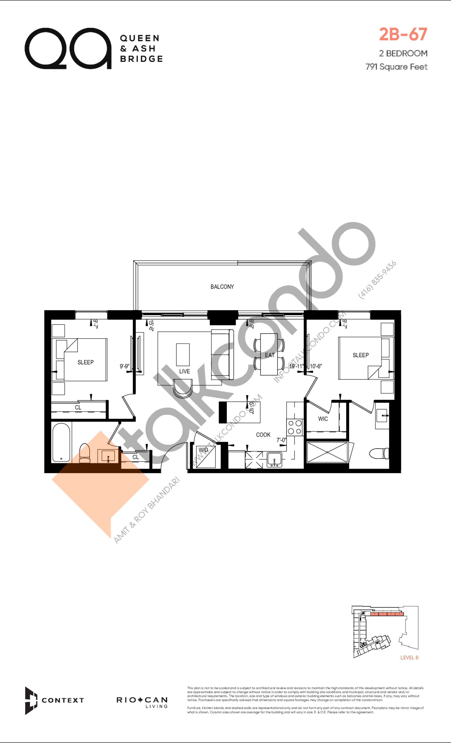 2B-67 (Queen Collection) Floor Plan at QA Condos - 791 sq.ft