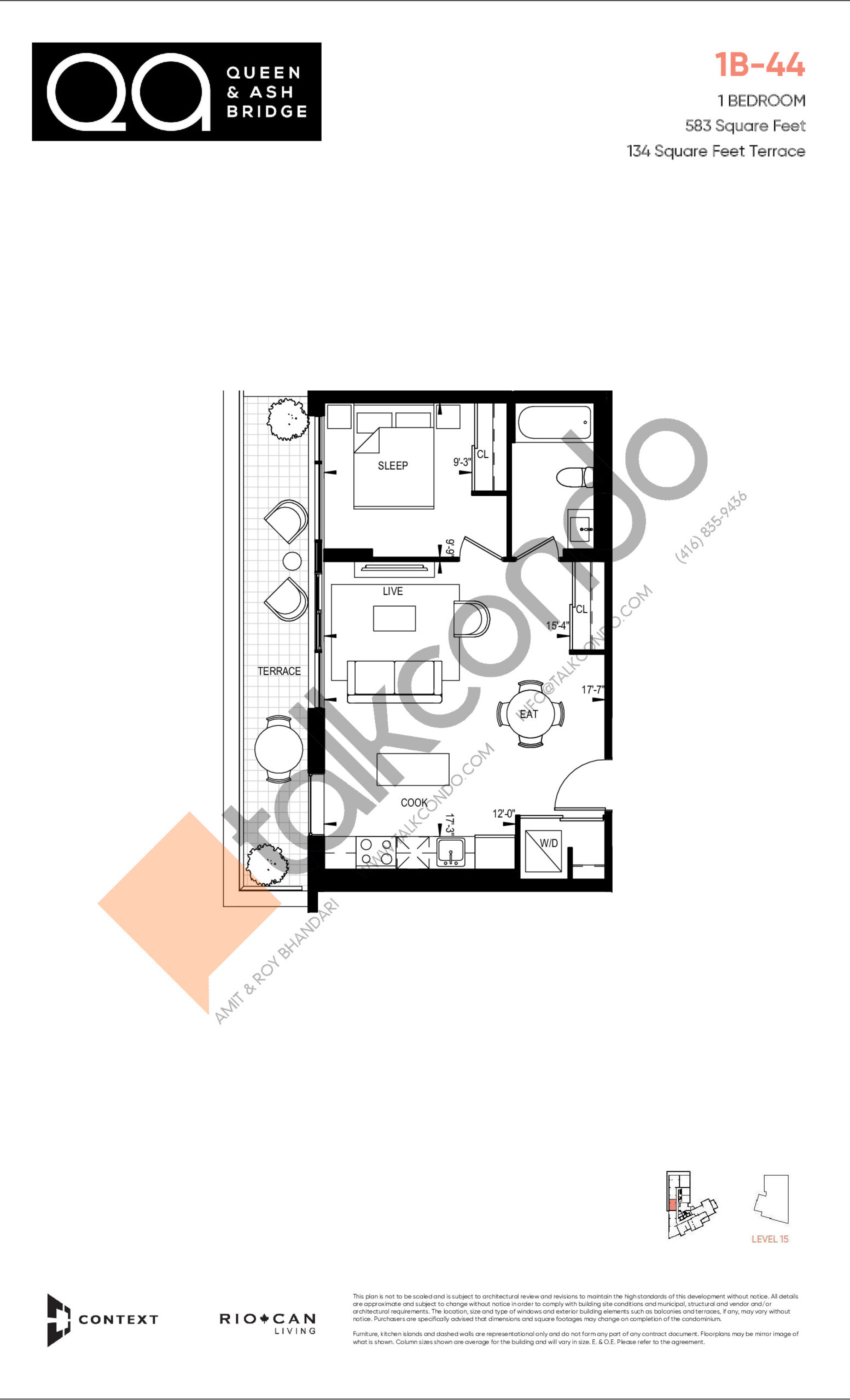 1B-44 (Queen Collection) Floor Plan at QA Condos - 583 sq.ft