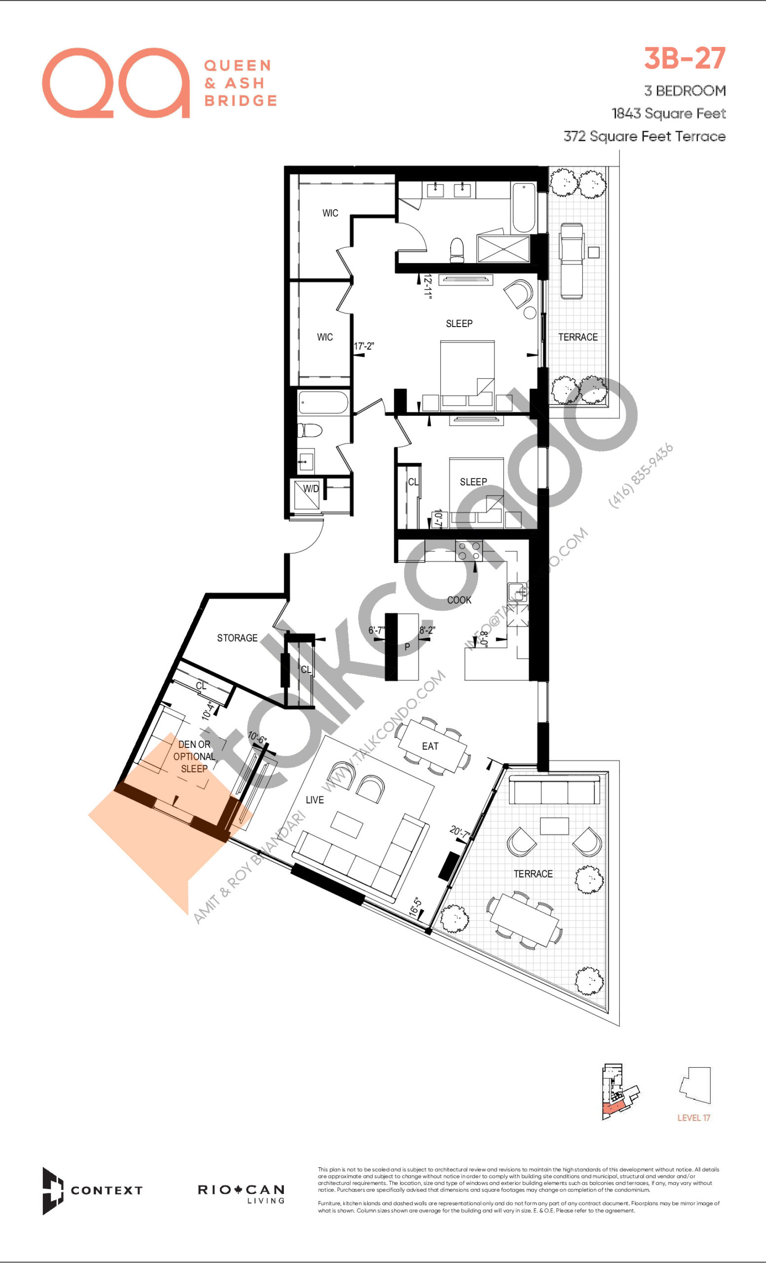 3B-27 (Queen Collection) Floor Plan at QA Condos - 1843 sq.ft