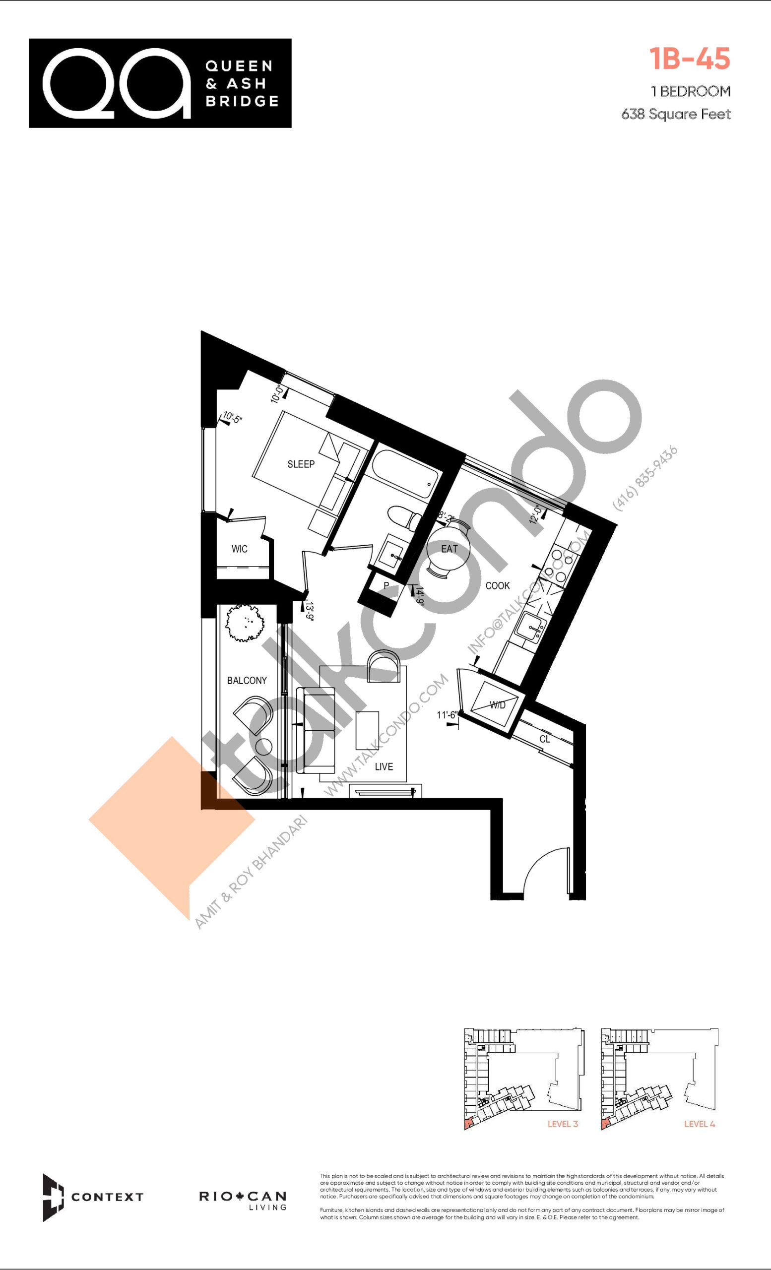 1B-45 (Ashbridge Collection) Floor Plan at QA Condos - 638 sq.ft