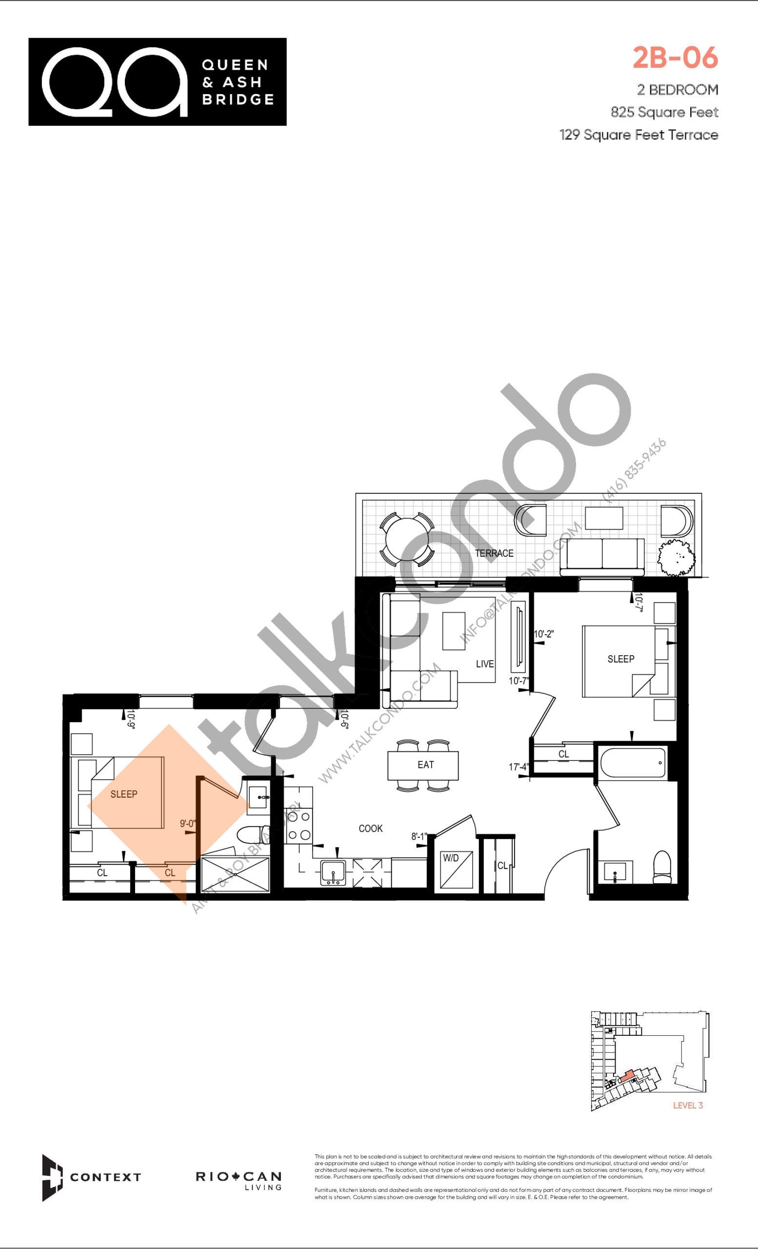 2B-06 (Ashbridge Collection) Floor Plan at QA Condos - 825 sq.ft