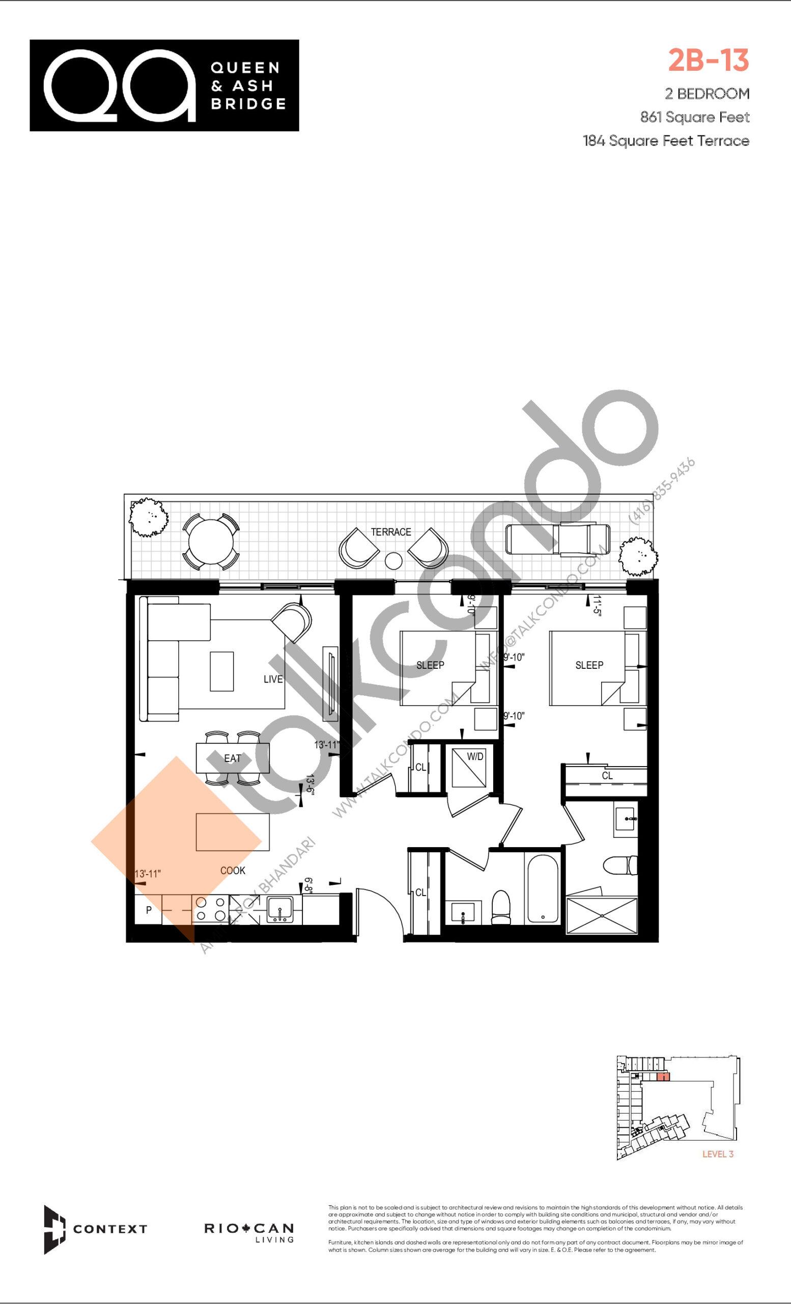 2B-13 (Ashbridge Collection) Floor Plan at QA Condos - 861 sq.ft