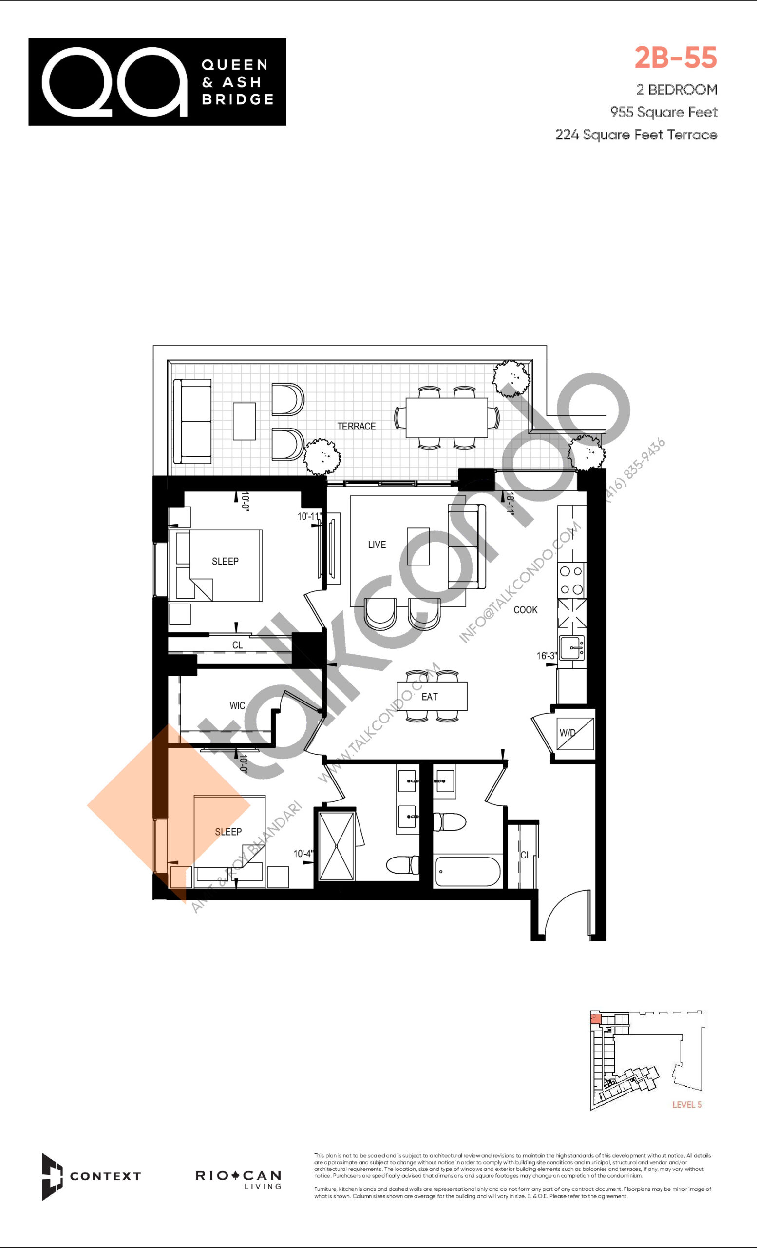 2B-55 (Ashbridge Collection) Floor Plan at QA Condos - 955 sq.ft