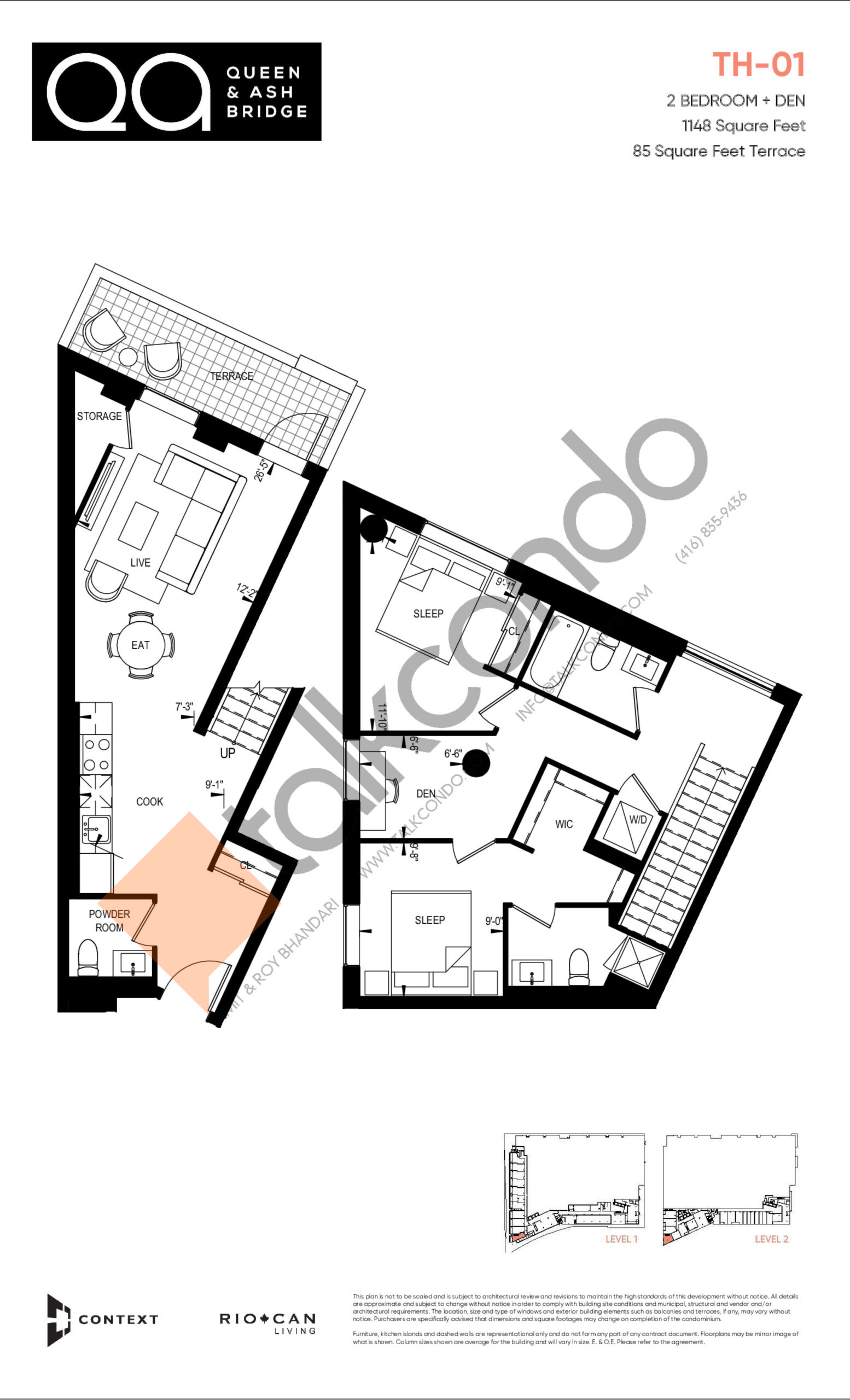 TH-01 (Ashbridge Collection) Floor Plan at QA Condos - 1148 sq.ft