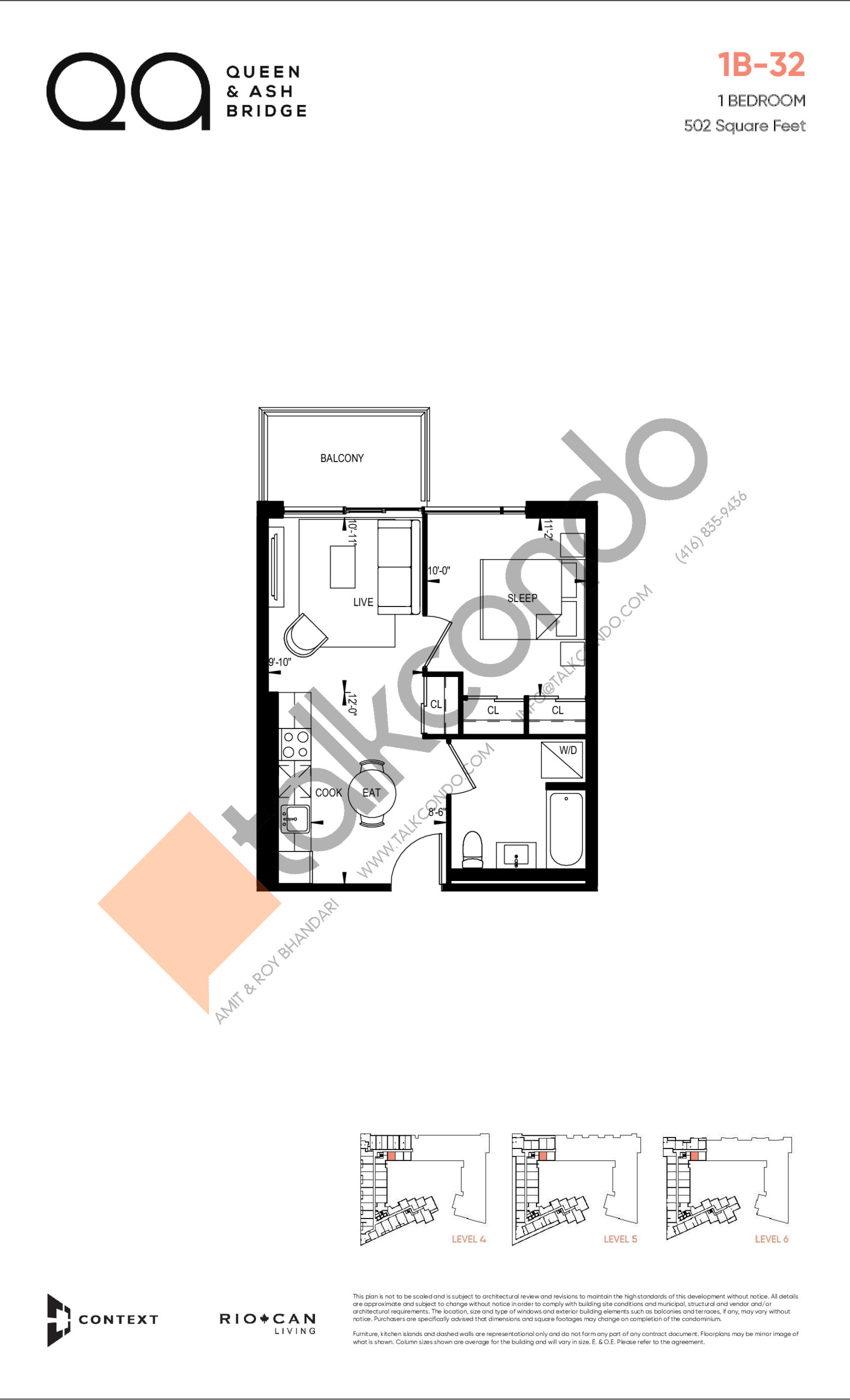 1B-32 (Queen Collection) Floor Plan at QA Condos - 502 sq.ft
