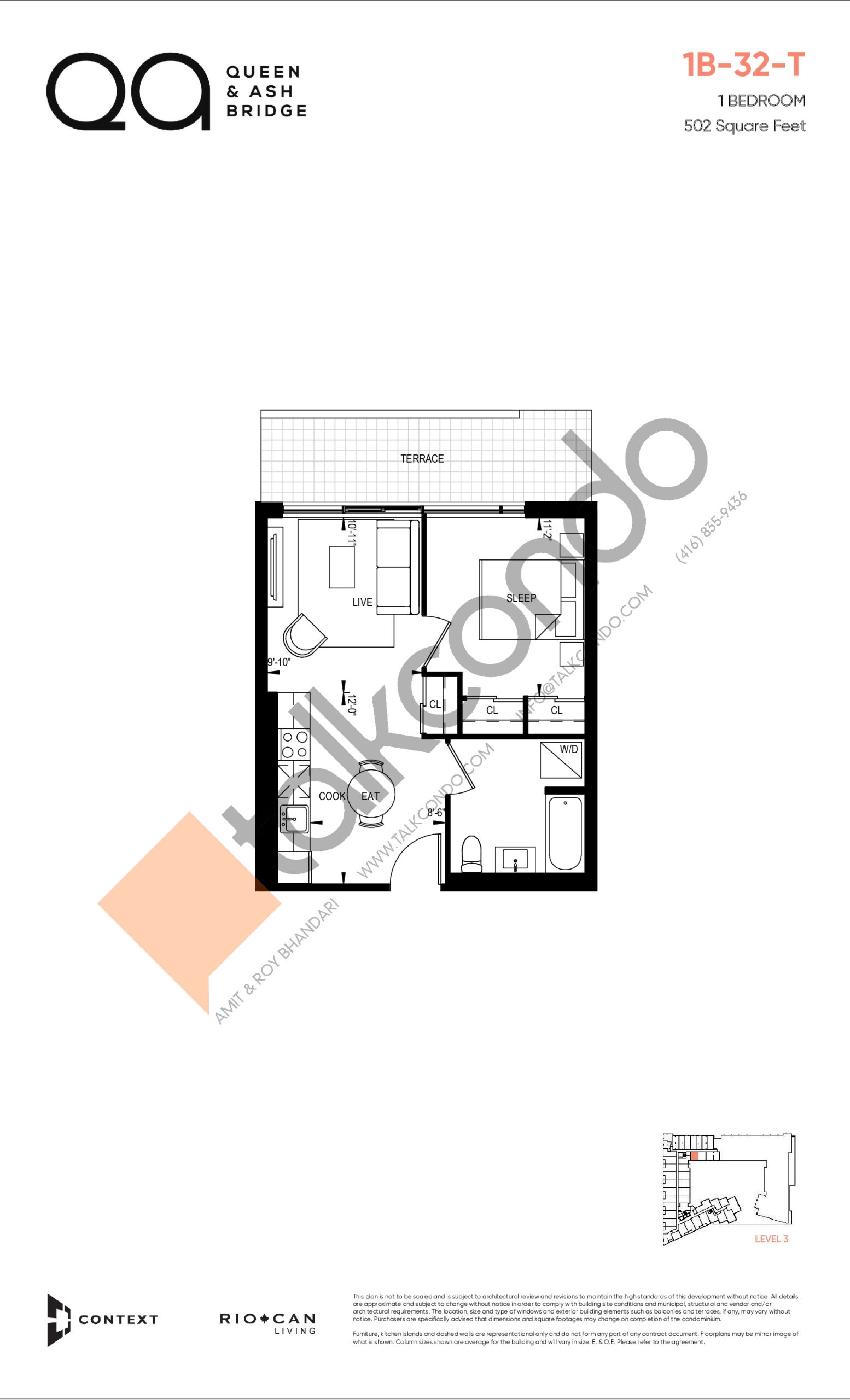 1B-32-T (Queen Collection) Floor Plan at QA Condos - 502 sq.ft