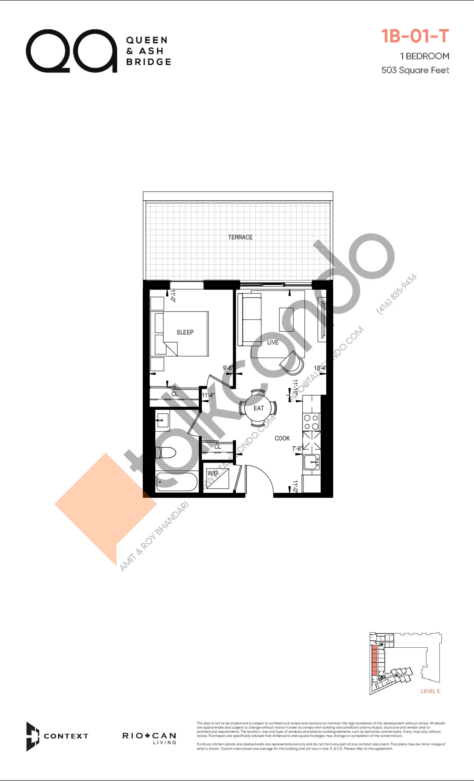 1B-01-T (Queen Collection) Floor Plan at QA Condos - 503 sq.ft