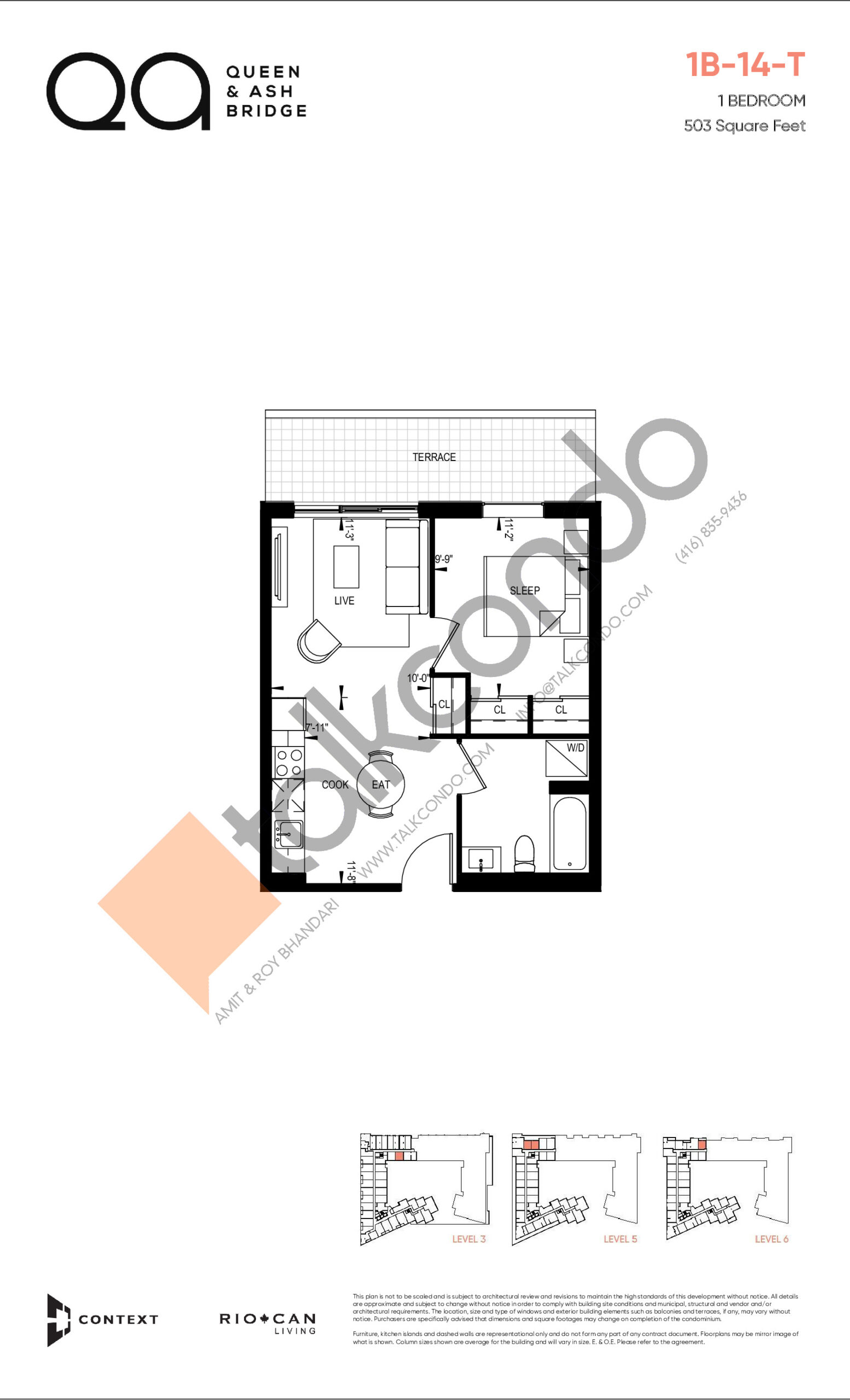 1B-14-T (Queen Collection) Floor Plan at QA Condos - 503 sq.ft