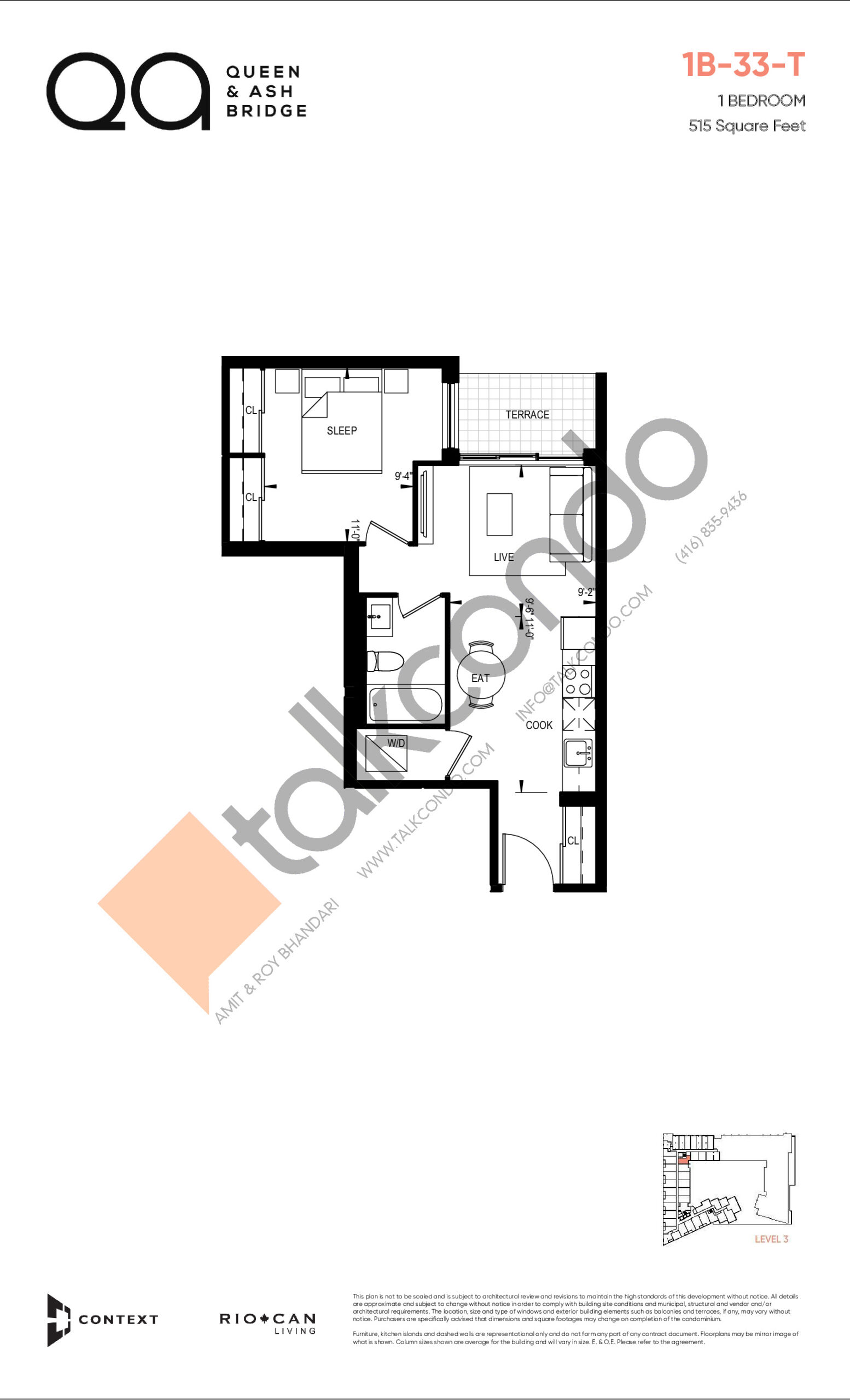 1B-33-T (Queen Collection) Floor Plan at QA Condos - 515 sq.ft