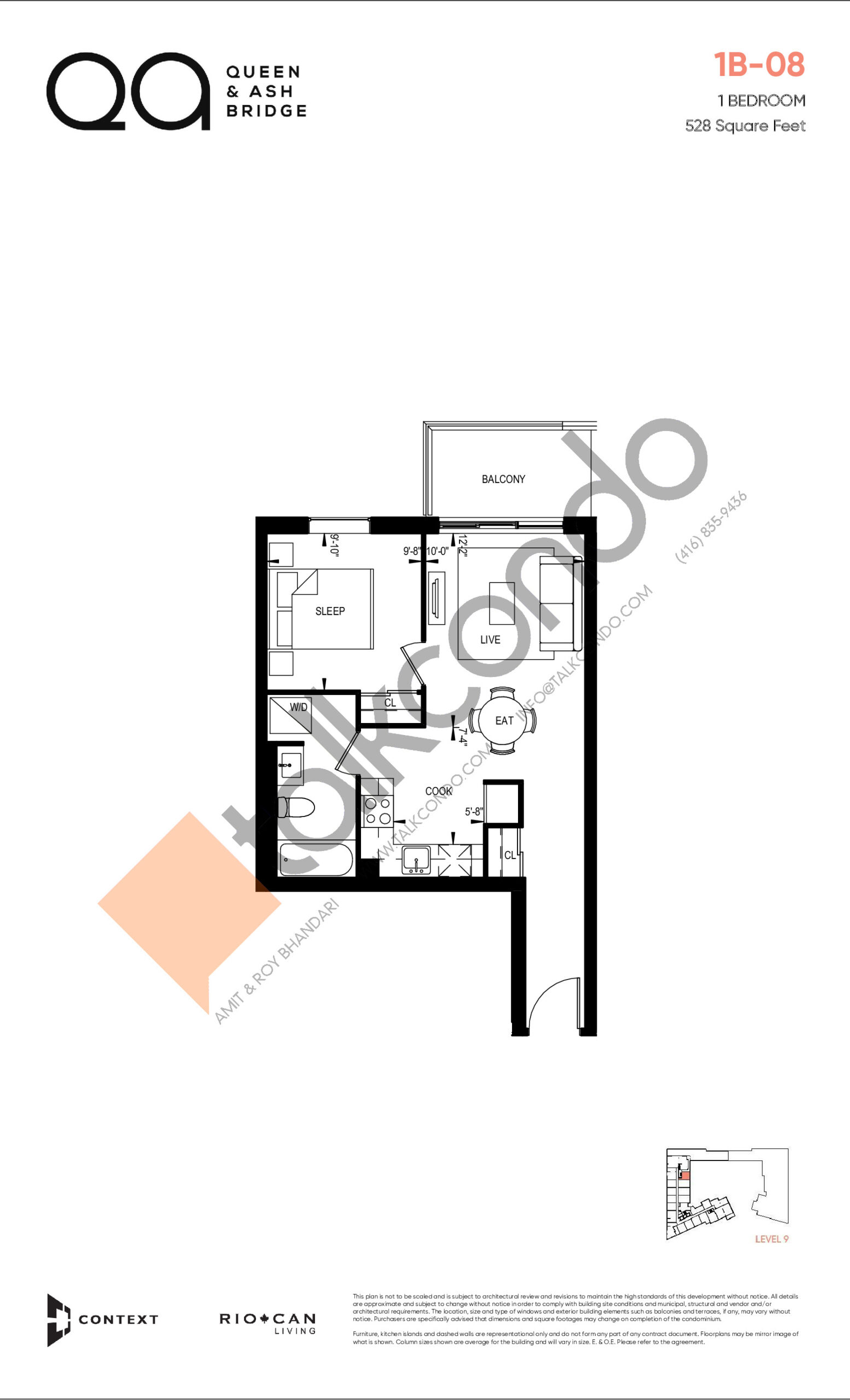 1B-08 (Queen Collection) Floor Plan at QA Condos - 528 sq.ft