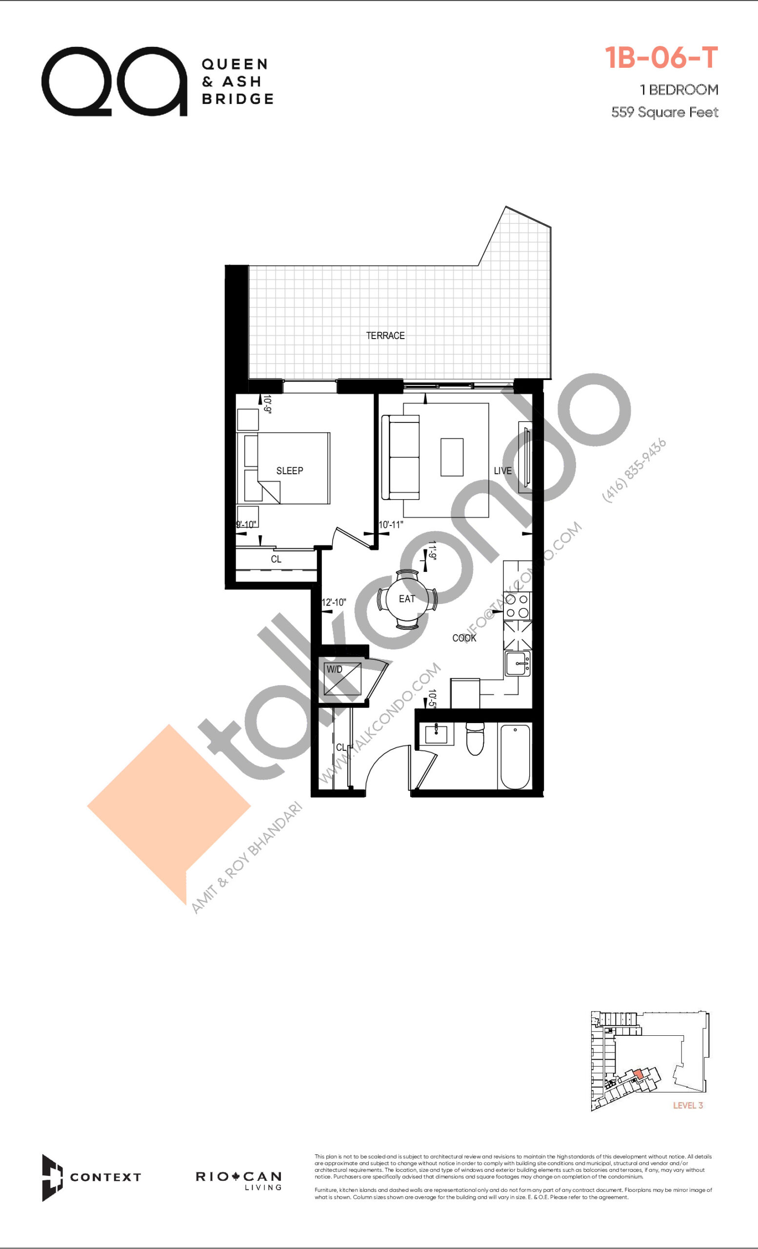 1B-06-T (Queen Collection) Floor Plan at QA Condos - 559 sq.ft
